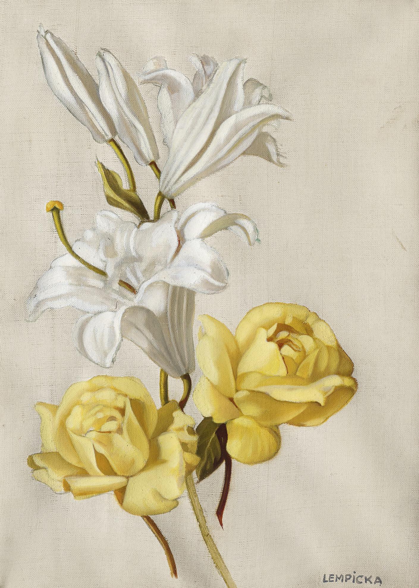 Tamara de Lempicka-Lys Et Roses Jaunes-1949