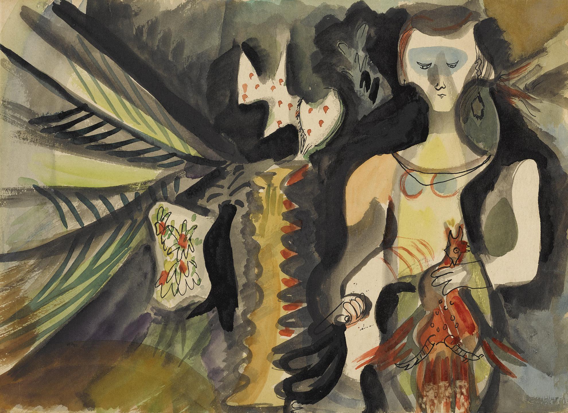 Mariano Rodriguez-Mujer Degollando Un Gallo-1949