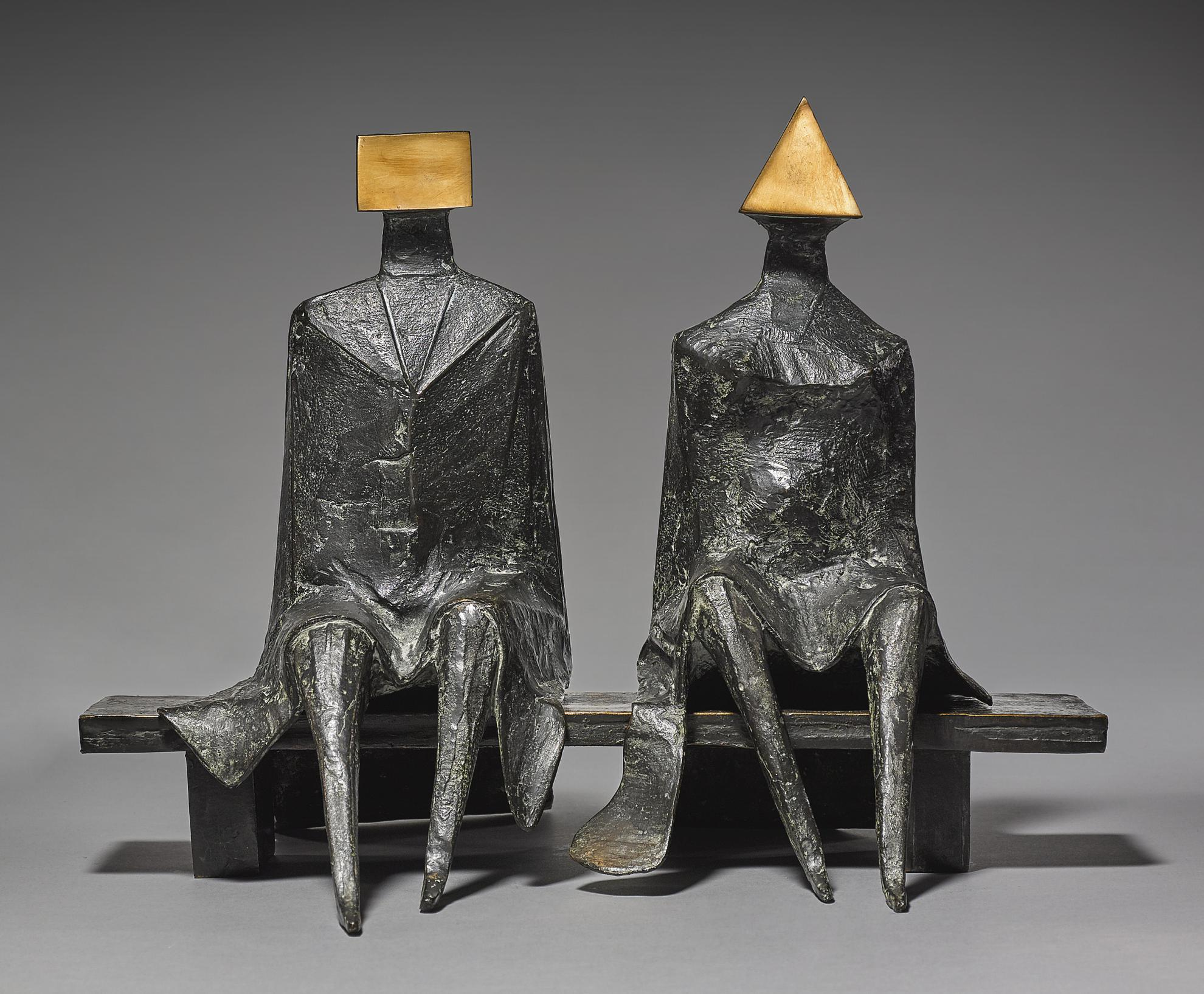 Lynn Chadwick-Maquette Ii Sitting Couple On Bench-1984