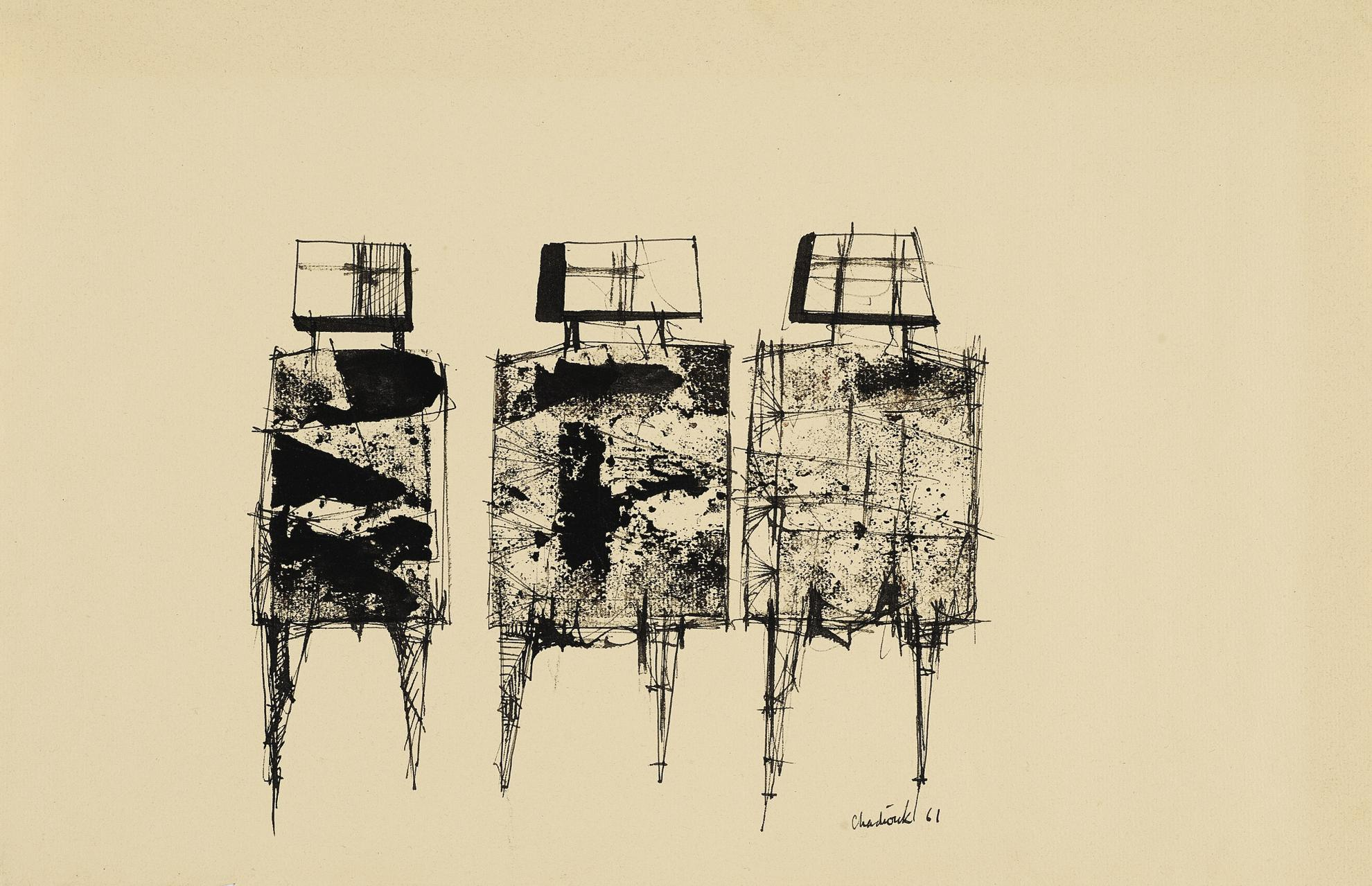 Lynn Chadwick-Study For Three Watchers-1961