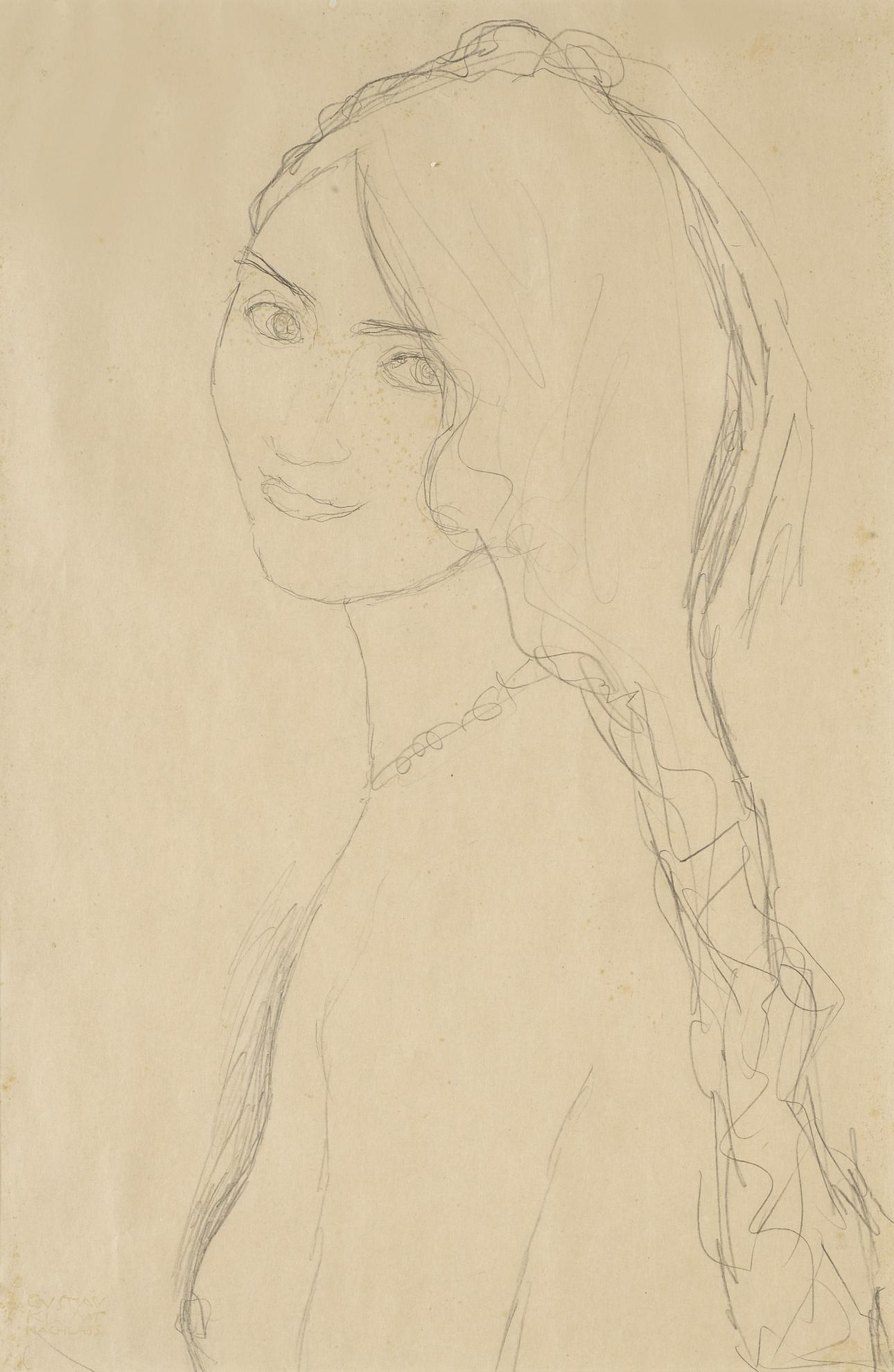 Gustav Klimt-Brustbild Eines Madchens Mit Herabhangenden Haaren (Half-Length Portrait Of A Girl With Flowing Hair)-1915