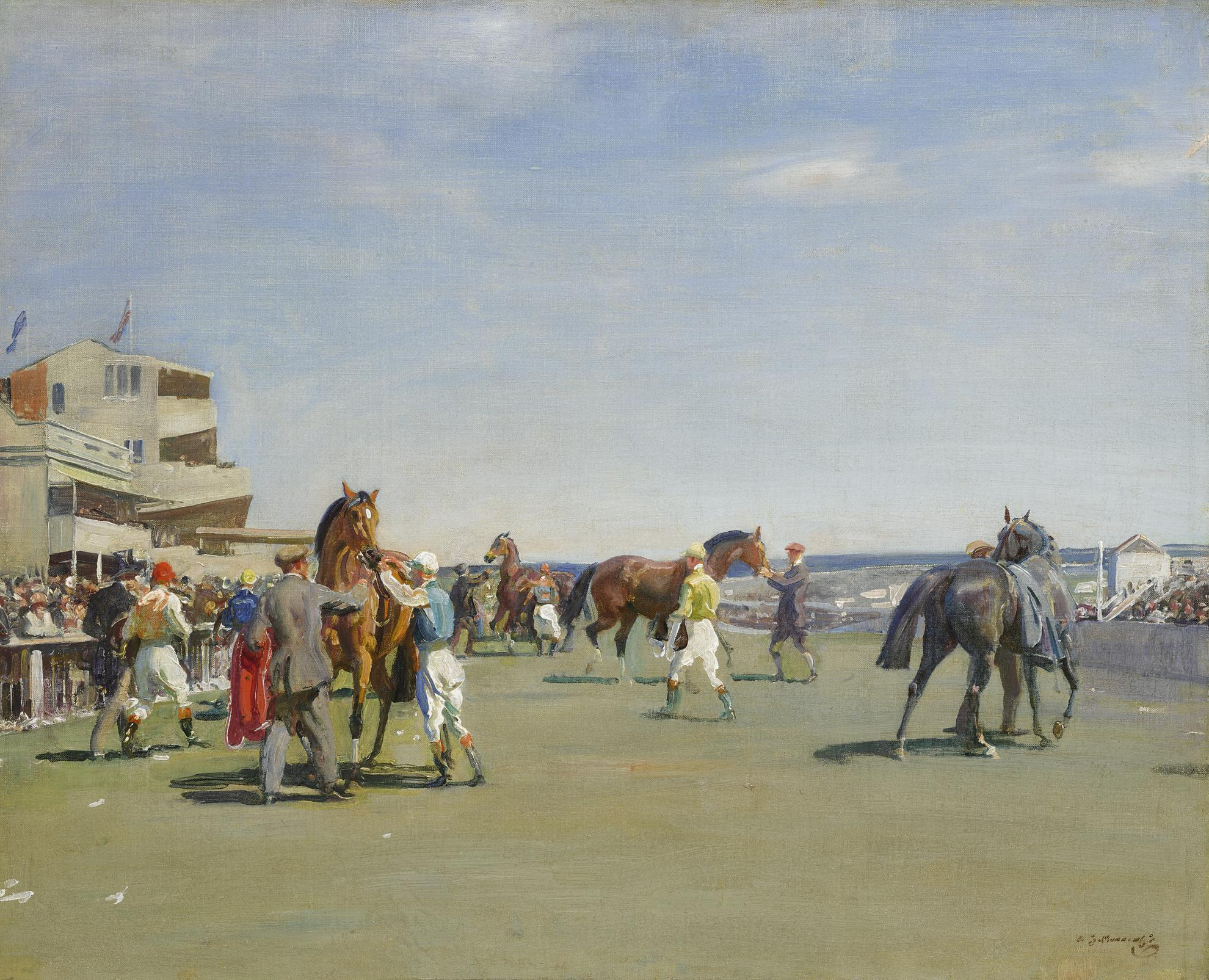 Sir Alfred James Munnings - Unsaddling At Epsom, Summer Meeting (Study)-