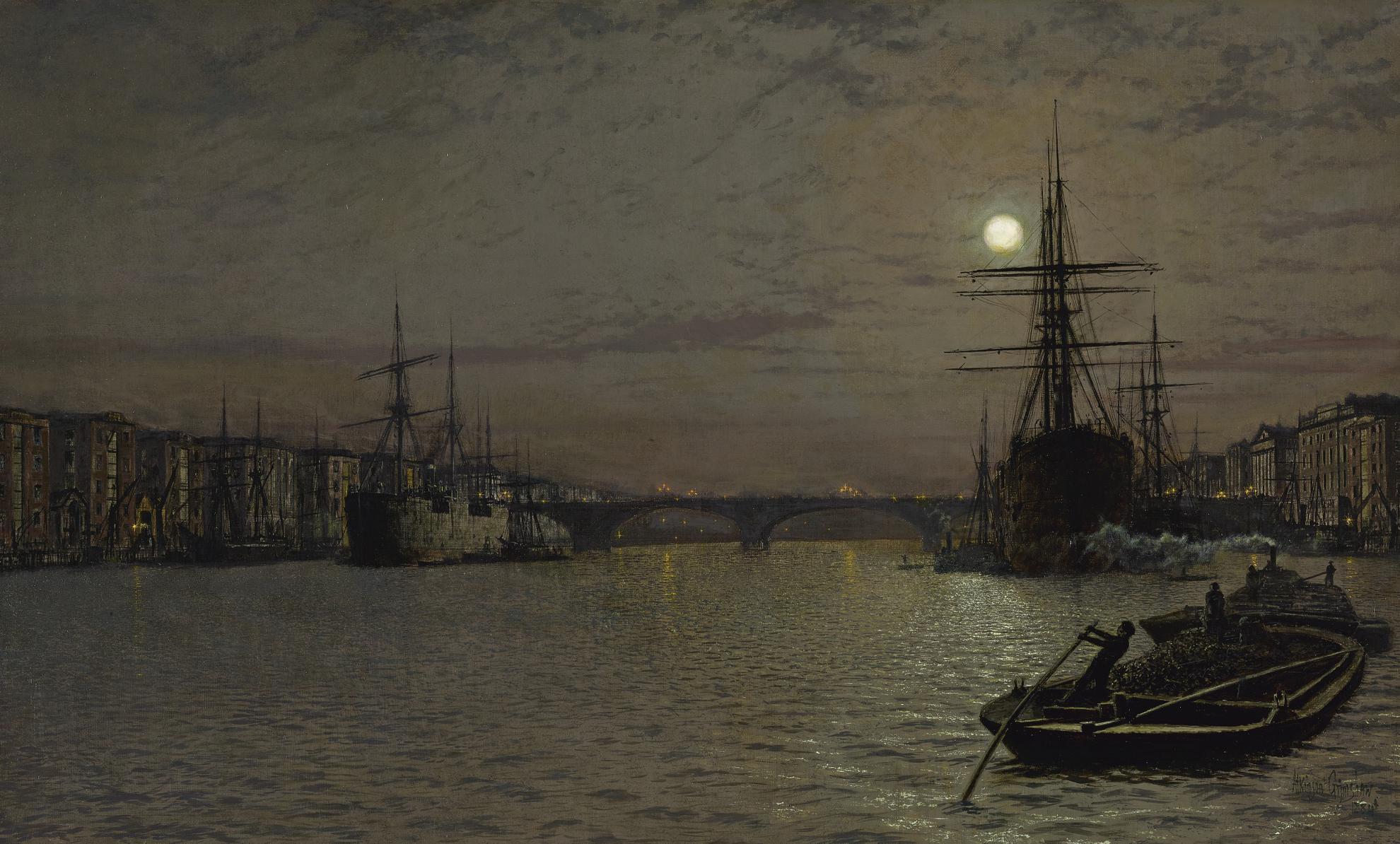 John Atkinson Grimshaw - The Pool And London Bridge At Night-1884