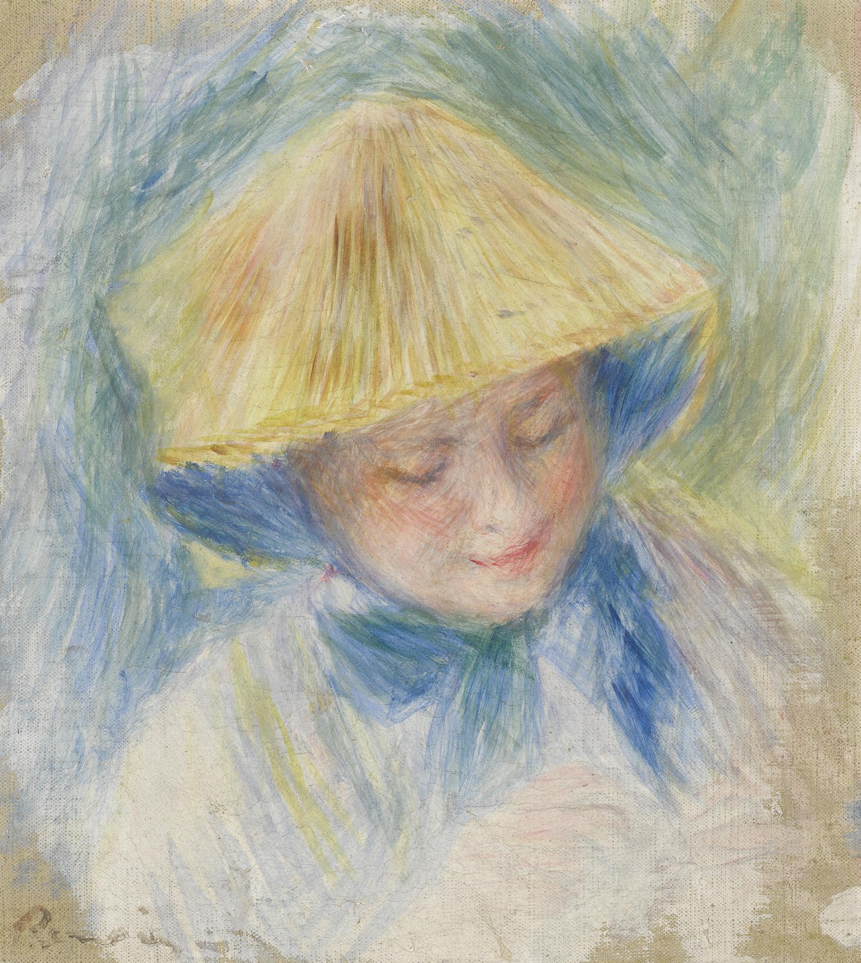 Pierre-Auguste Renoir-Portrait De Femme En Chapeau De Paille (Madame Clapisson)-1882