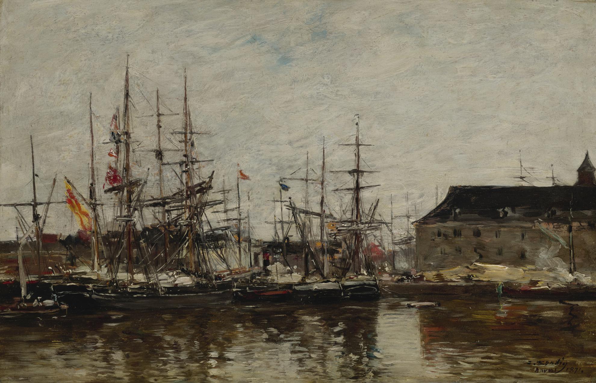 Eugene Louis Boudin-Anvers, Trois-Mats A Quai-1871