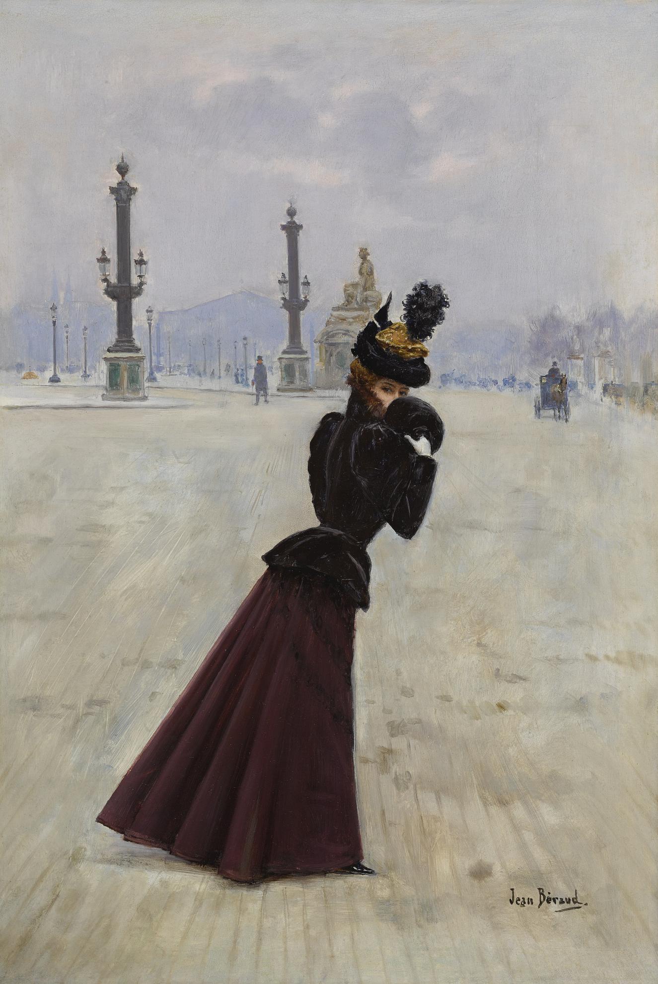 Jean Beraud - Jeune Femme, Place De La Concorde-