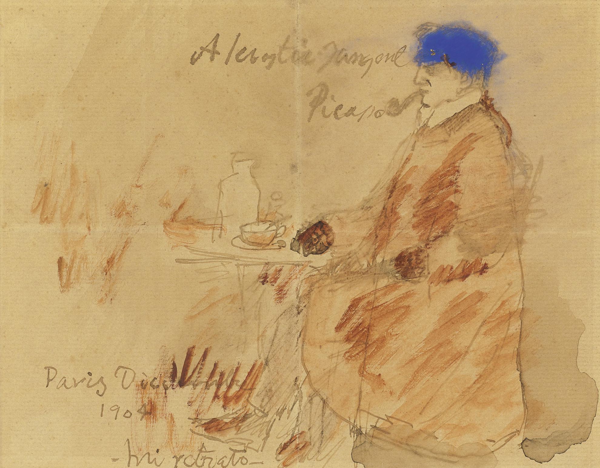 Pablo Picasso-Portrait De Lartiste Assis (Autoportrait A La Pipe)-1904