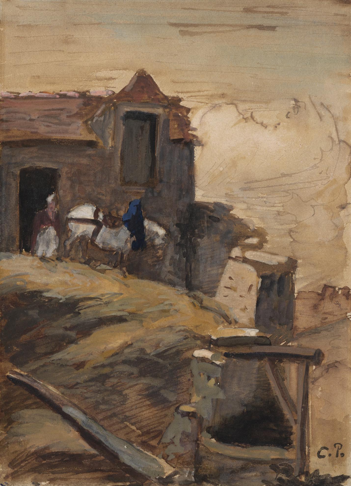 Camille Pissarro-Cheval Blanc Devant Une Ferme-1864