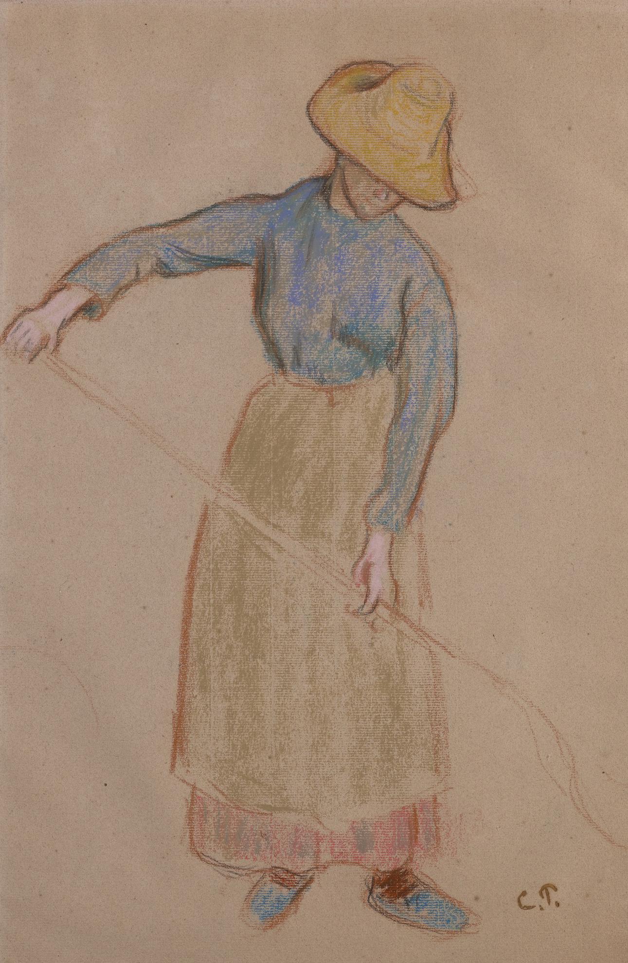 Camille Pissarro-Paysanne A La Fourche-1901