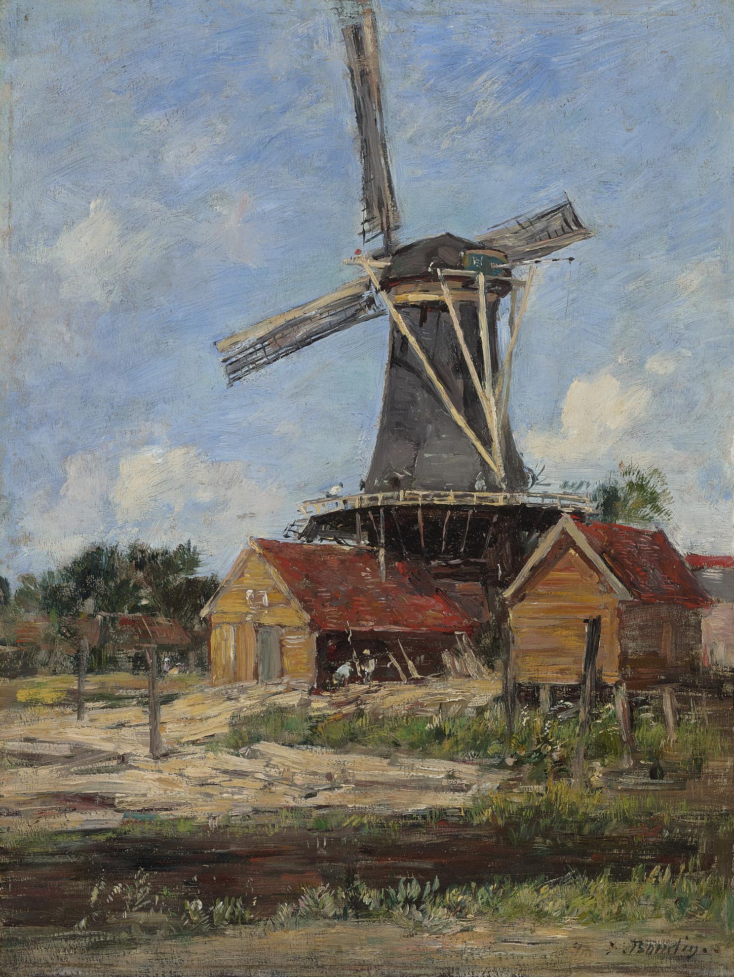 Eugene Louis Boudin-Moulin En Hollande-1880