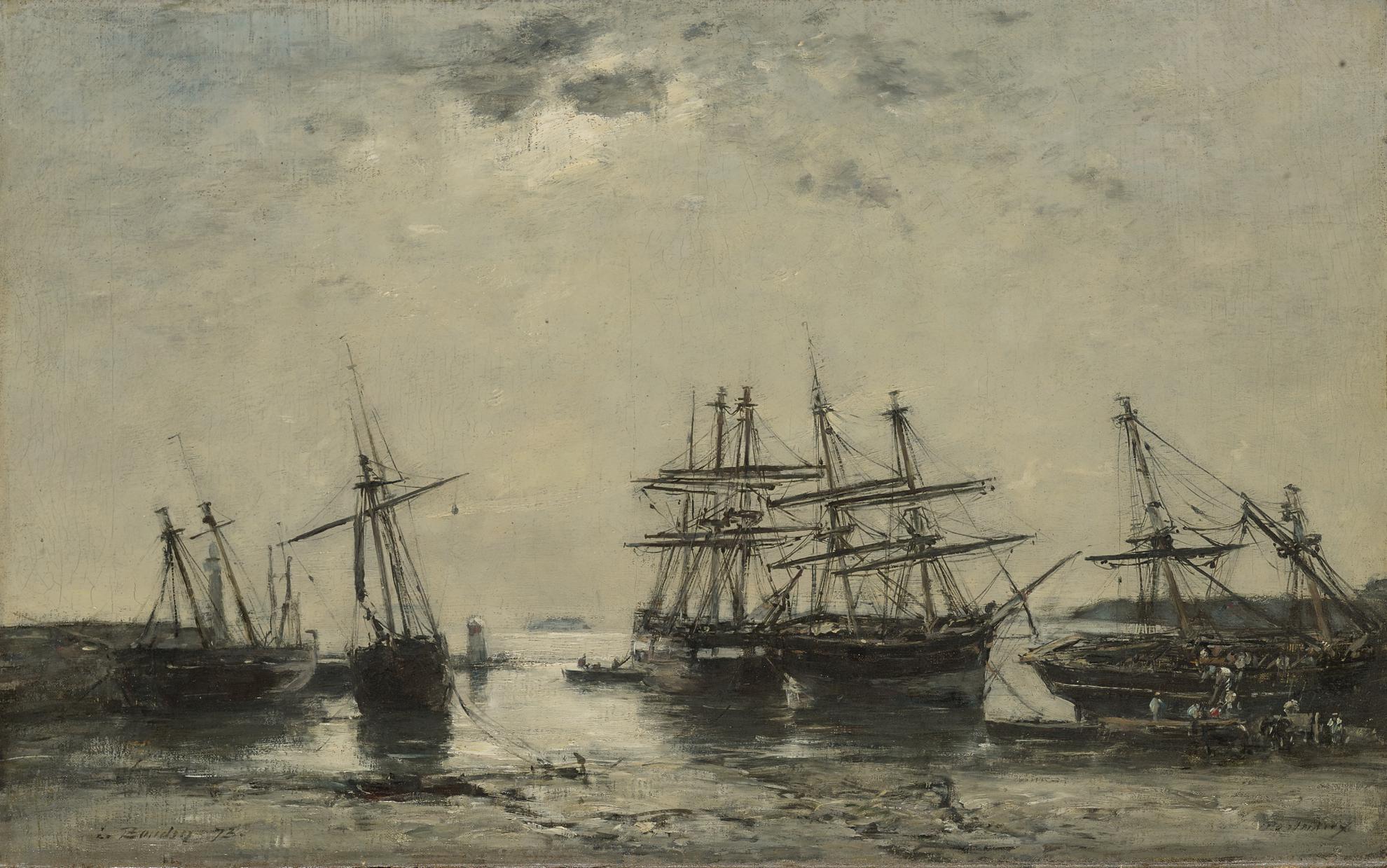 Eugene Louis Boudin-Portrieux, Entree Du Port, Maree Basse-1873