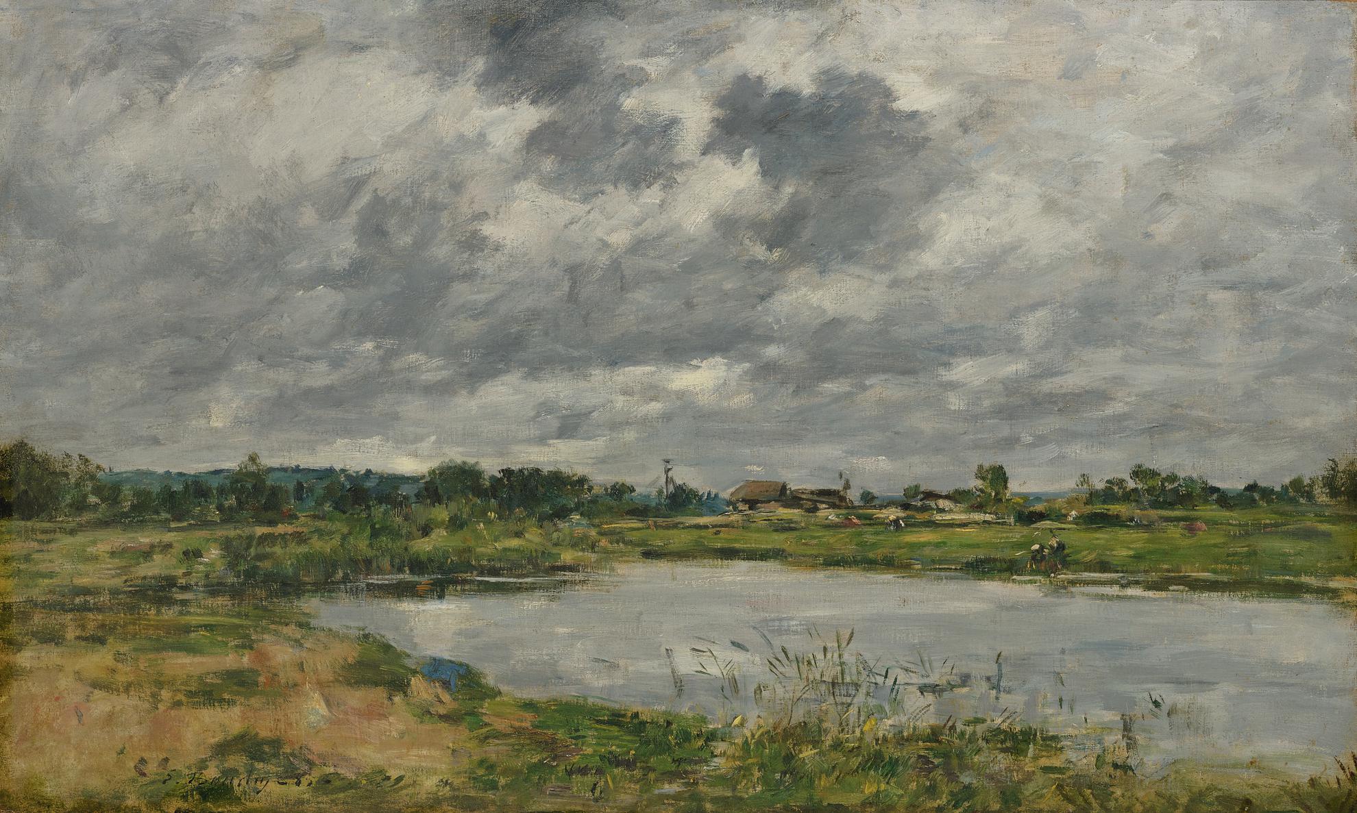 Eugene Louis Boudin-Les Bords De La Touques-1885