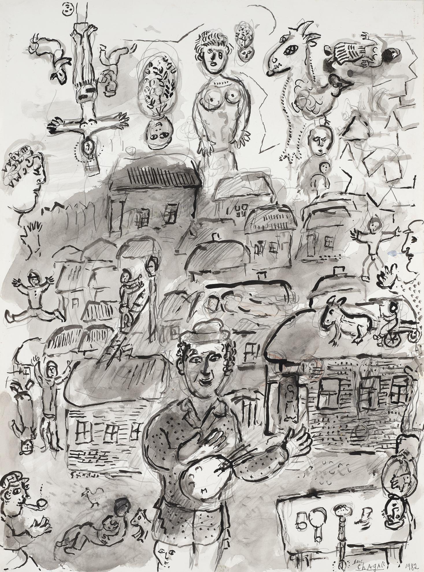 Marc Chagall-Le Peintre Dans Son Village-1982