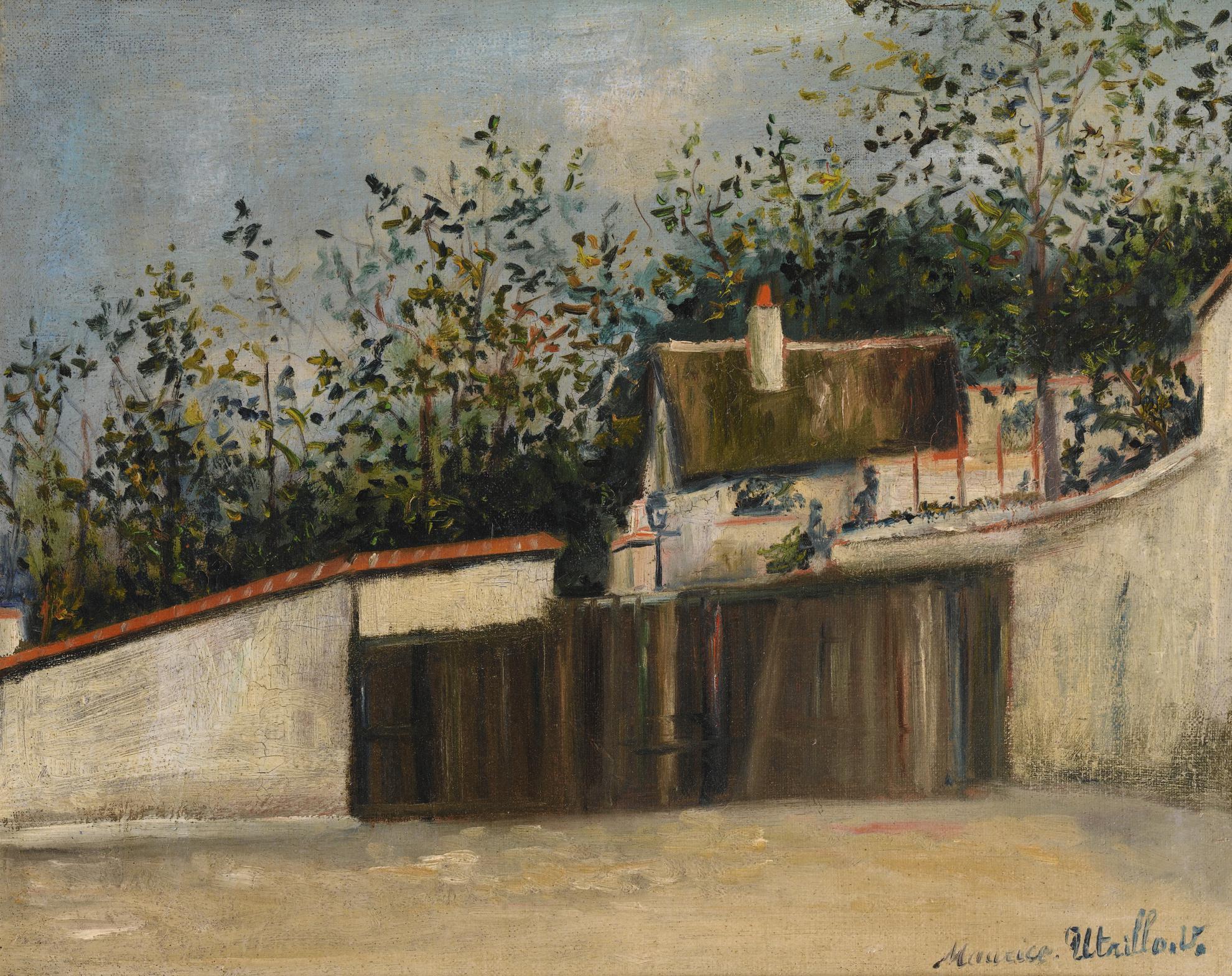 Maurice Utrillo-Rue Saint-Vincent Et Chaumiere Dhenri Iv, Montmartre (Lenclos De La Maison De Berlioz)-