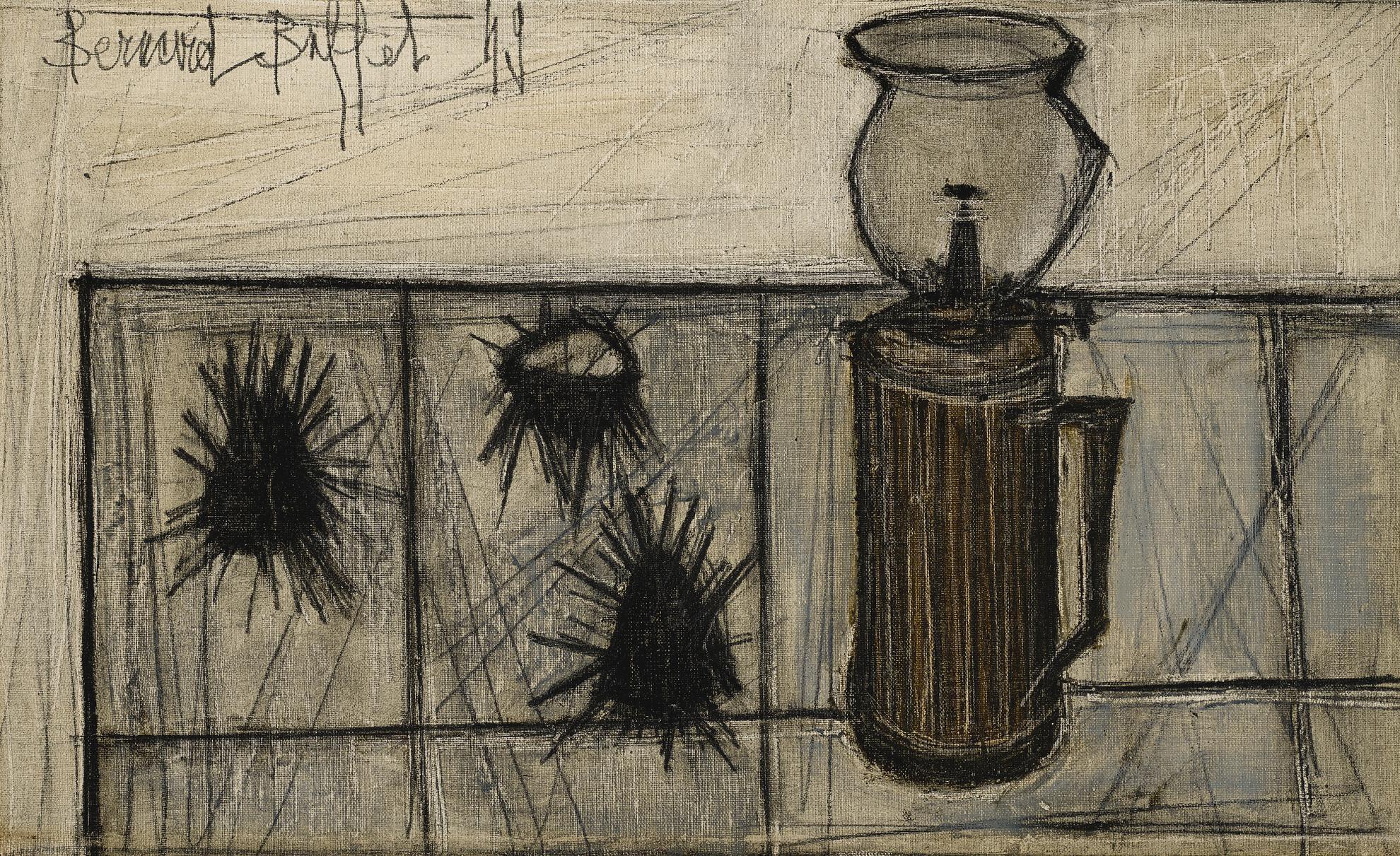 Bernard Buffet-Nature Morte Aux Oursins Et A La Lampe Pigeon-1949