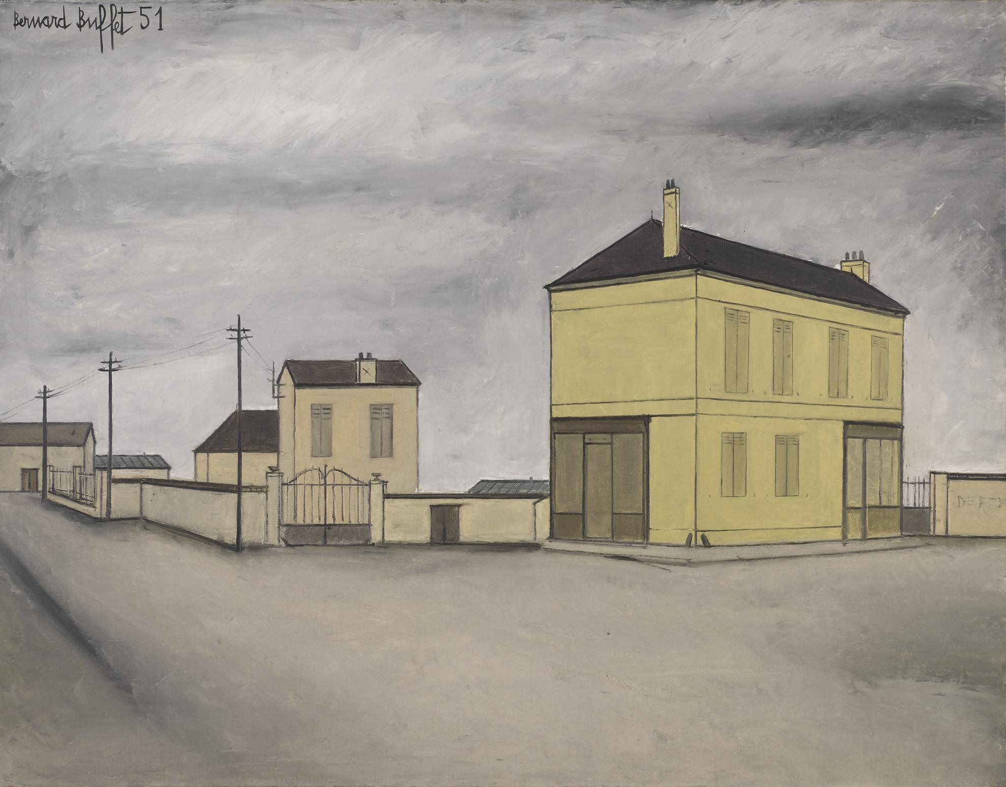 Bernard Buffet-Maison Dans Un Carrefour-1951