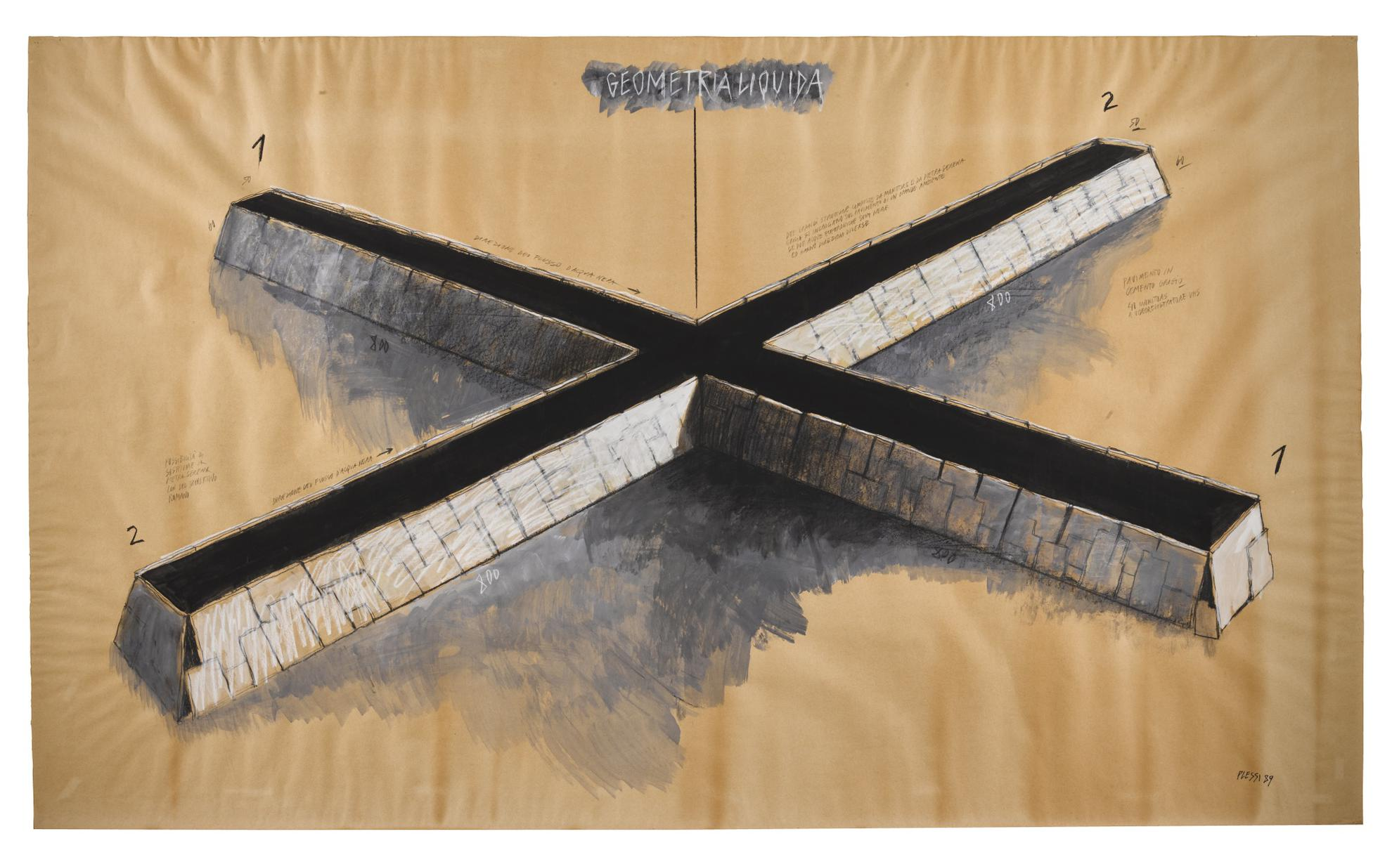 Fabrizio Plessi - Geometria Liquida-1989