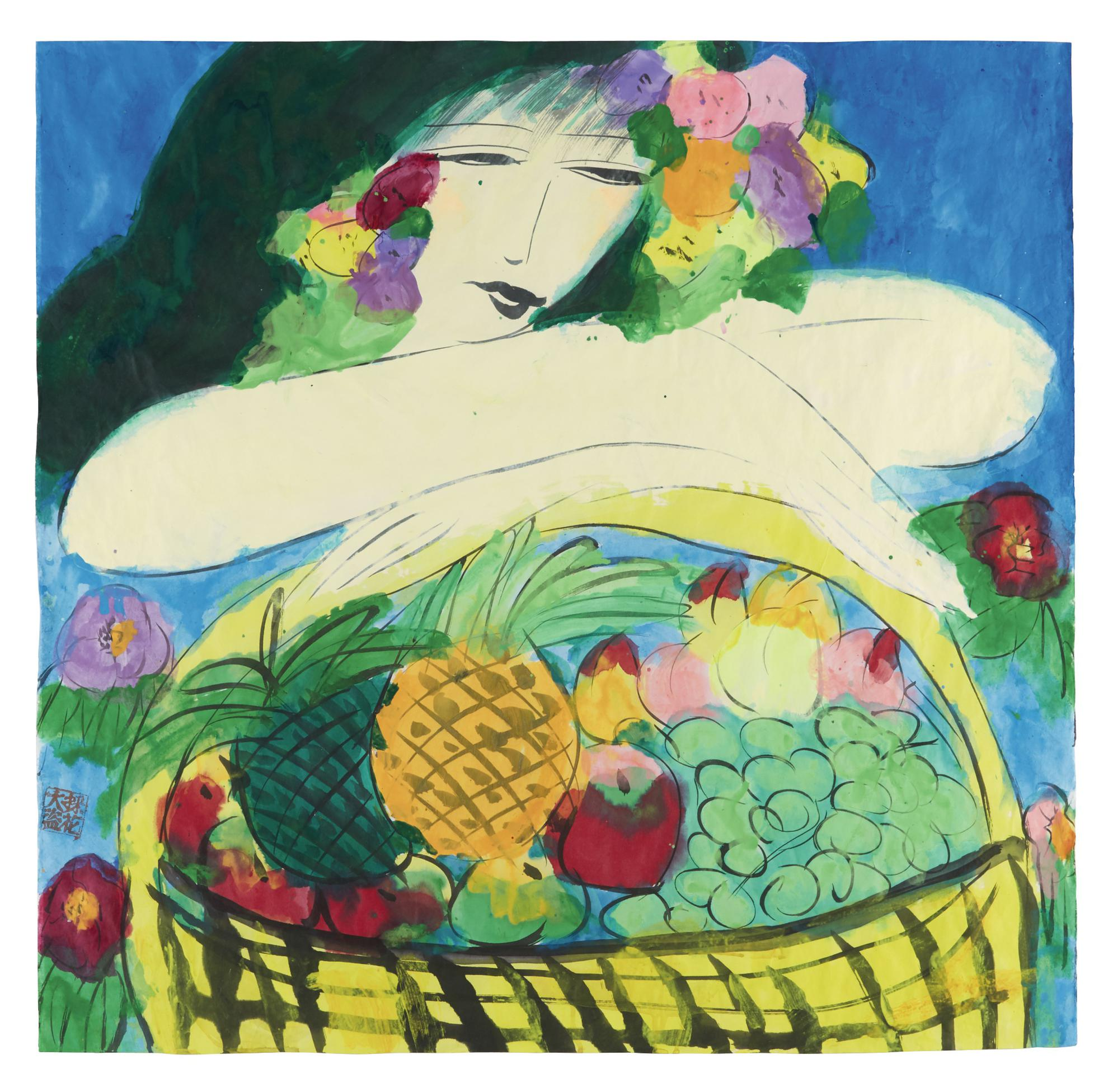 Walasse Ting-Woman With Fruitbasket-1990