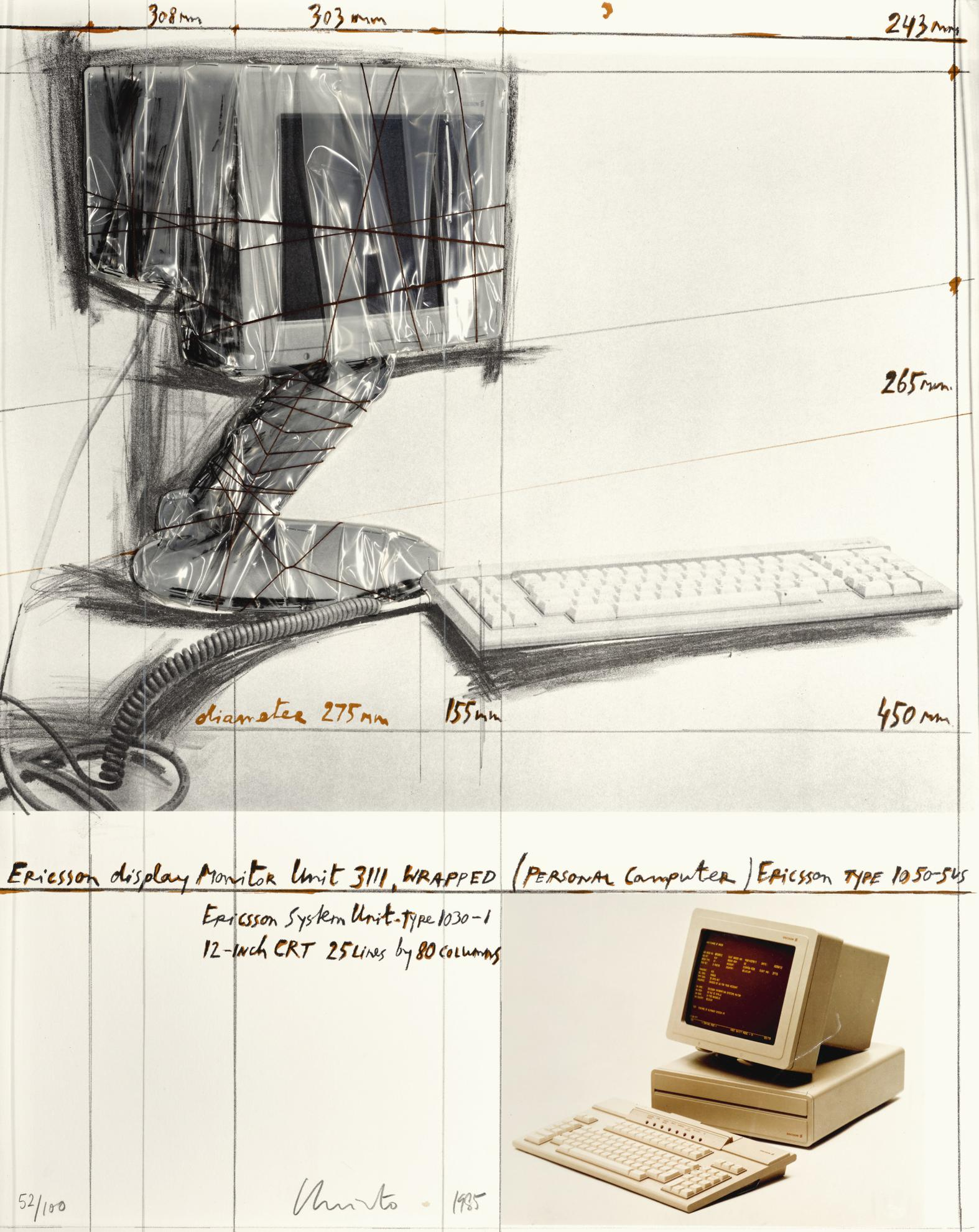 Christo and Jeanne-Claude-Ericsson Display Monitor Unit 3111, Wrapped, Project For Personal Computer-1985