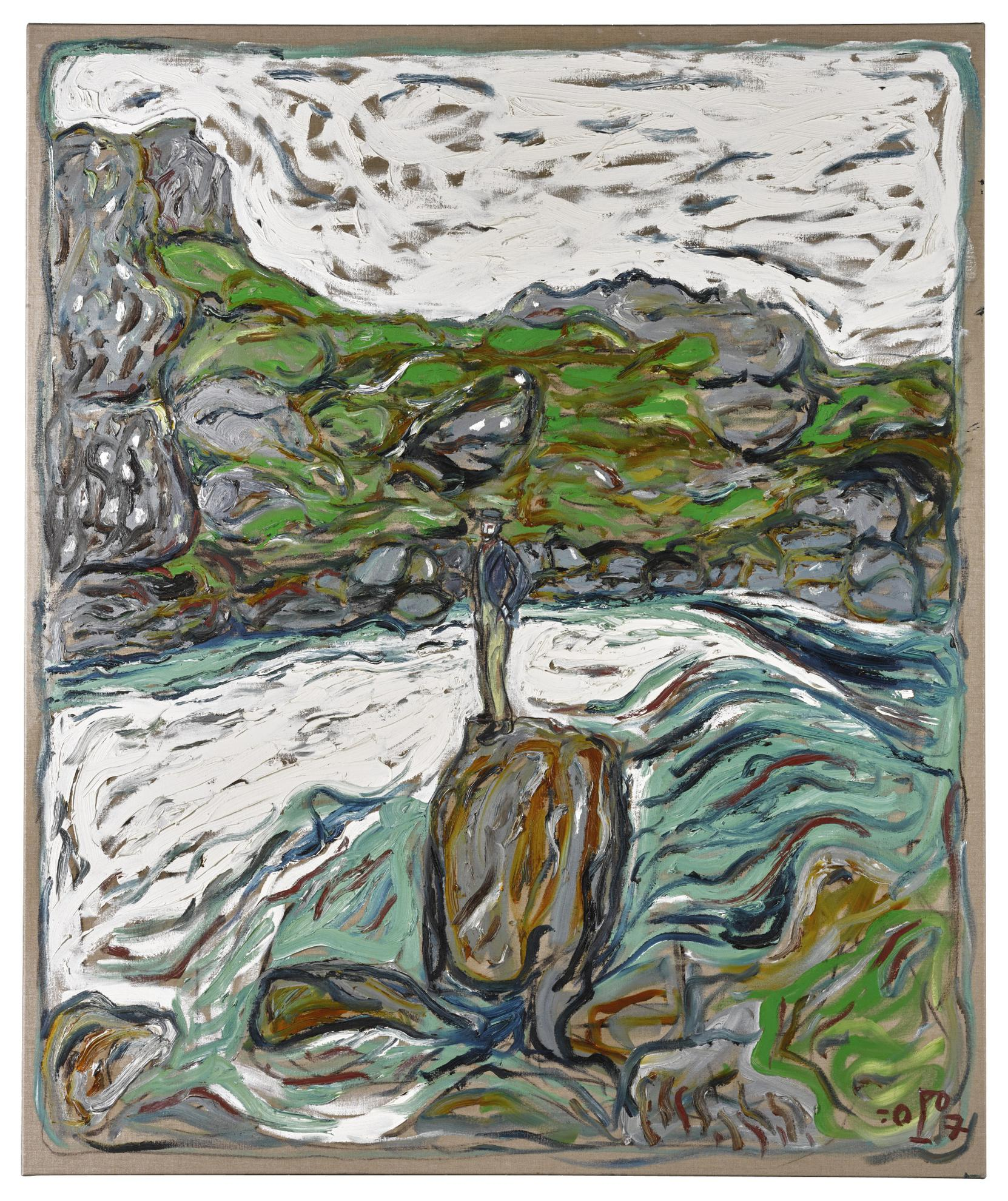 Billy Childish-Man On Rock, River Althing, Iceland-