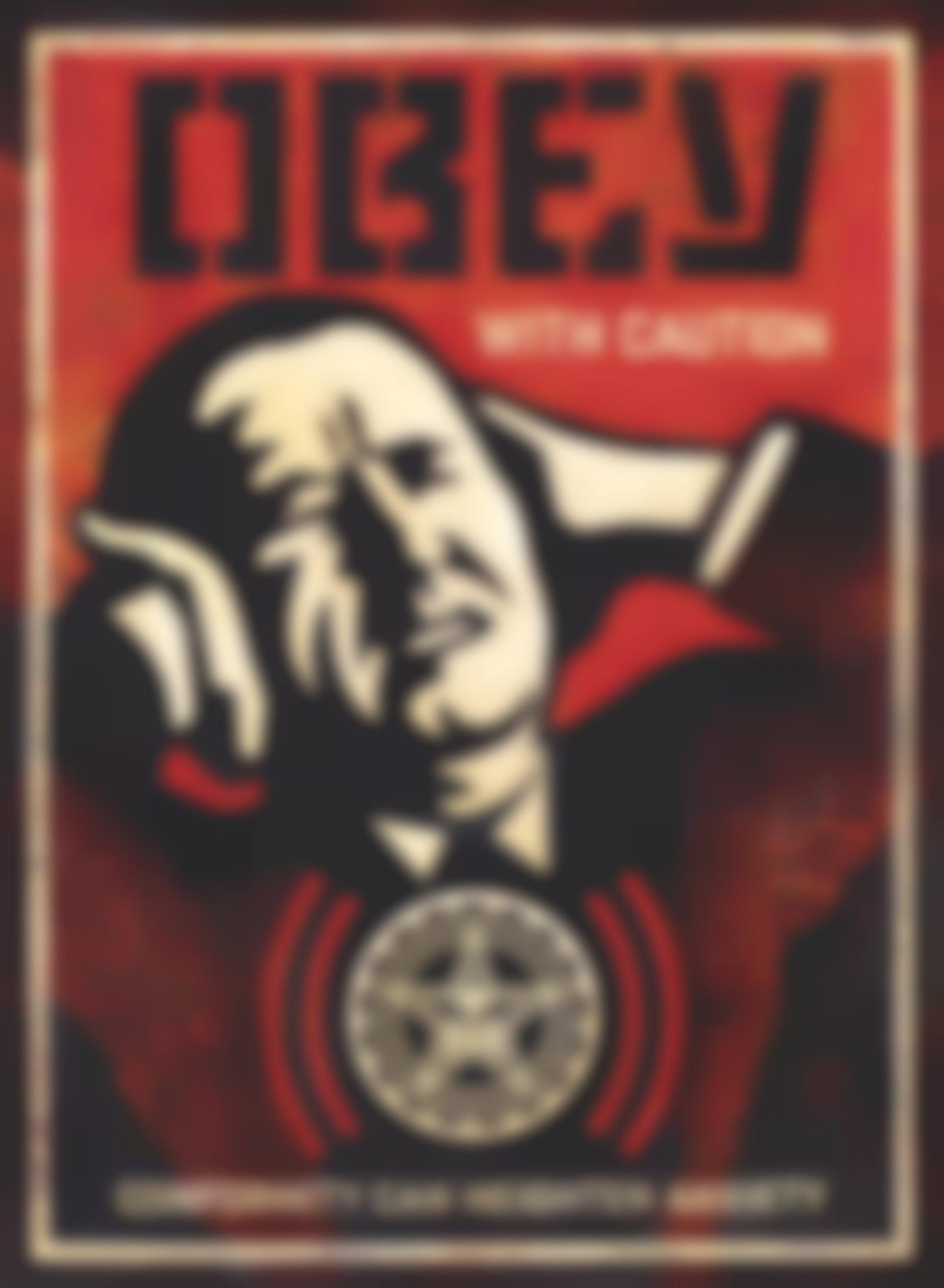 Shepard Fairey-Obey With Caution-2018