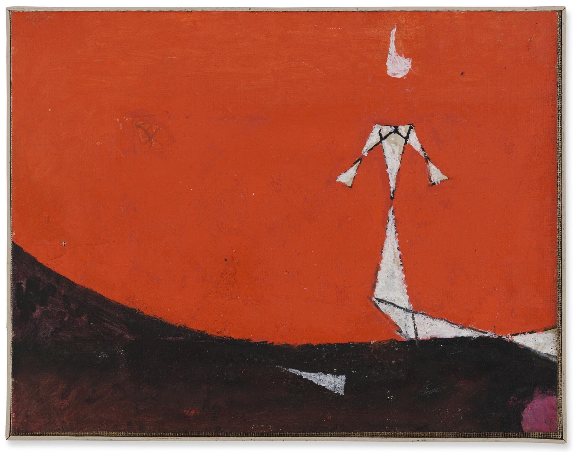 Osvaldo Licini-Alba Su Fondo Rosso-1956