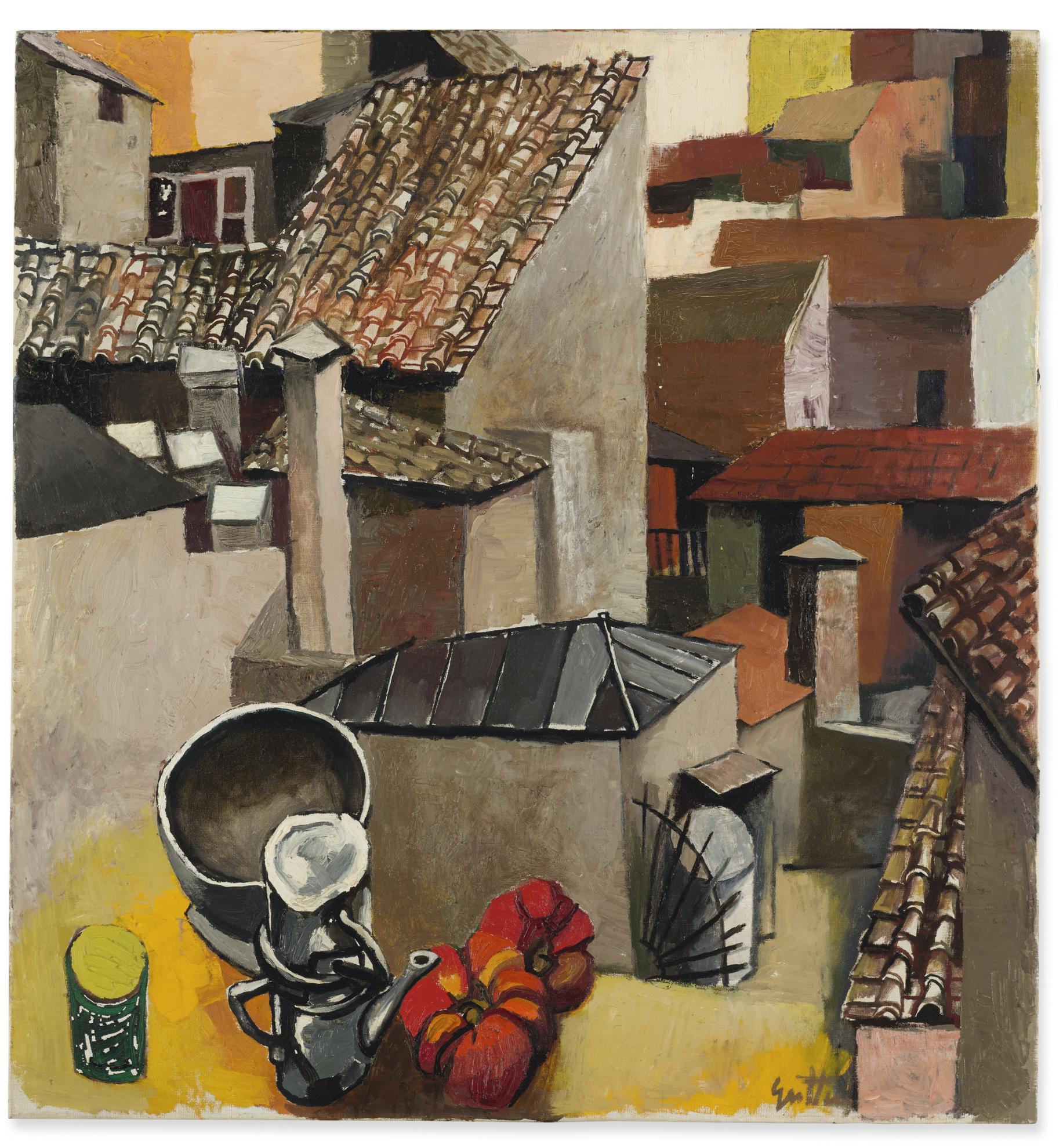 Renato Guttuso-Tetti Su Via Leonina (Oggetti Su Via Leonina-Natura Morta Alla Finestra)-1961