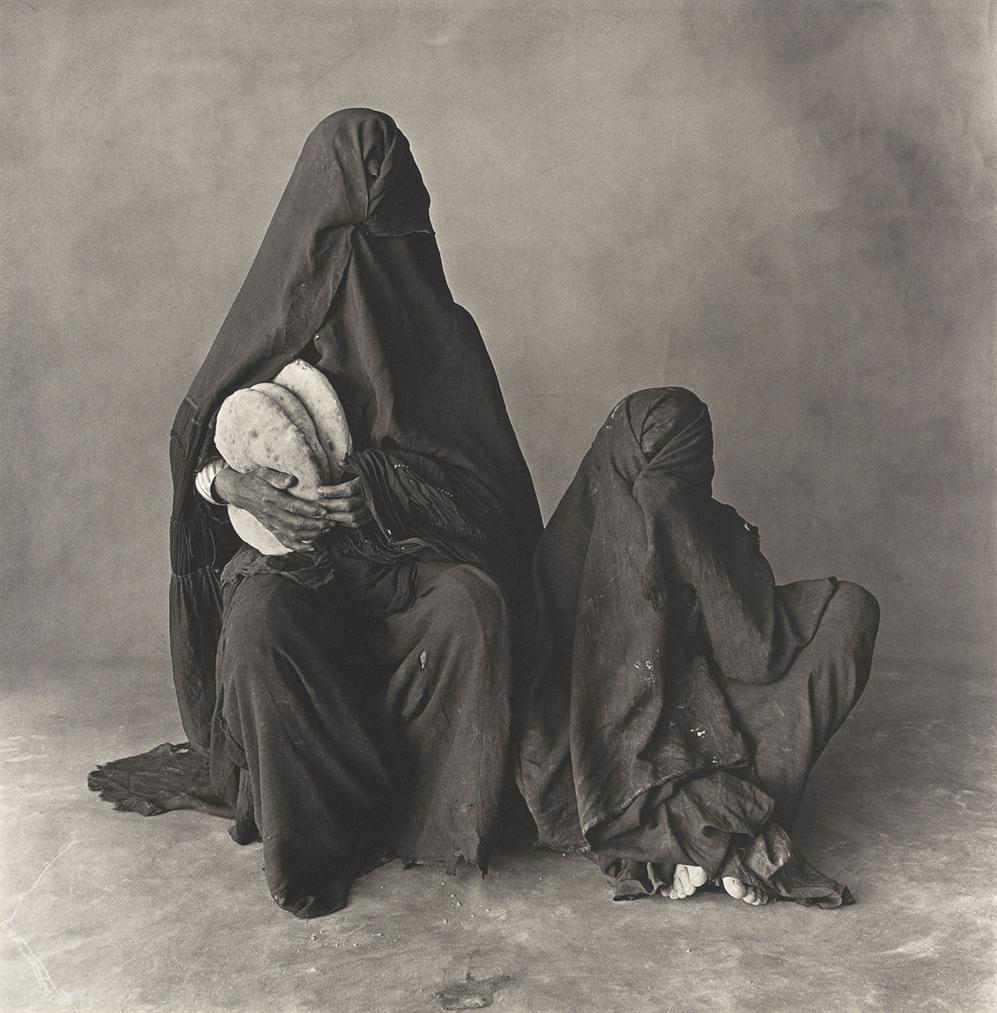 Irving Penn-Two Women In Black, With Bread, Morocco-1971