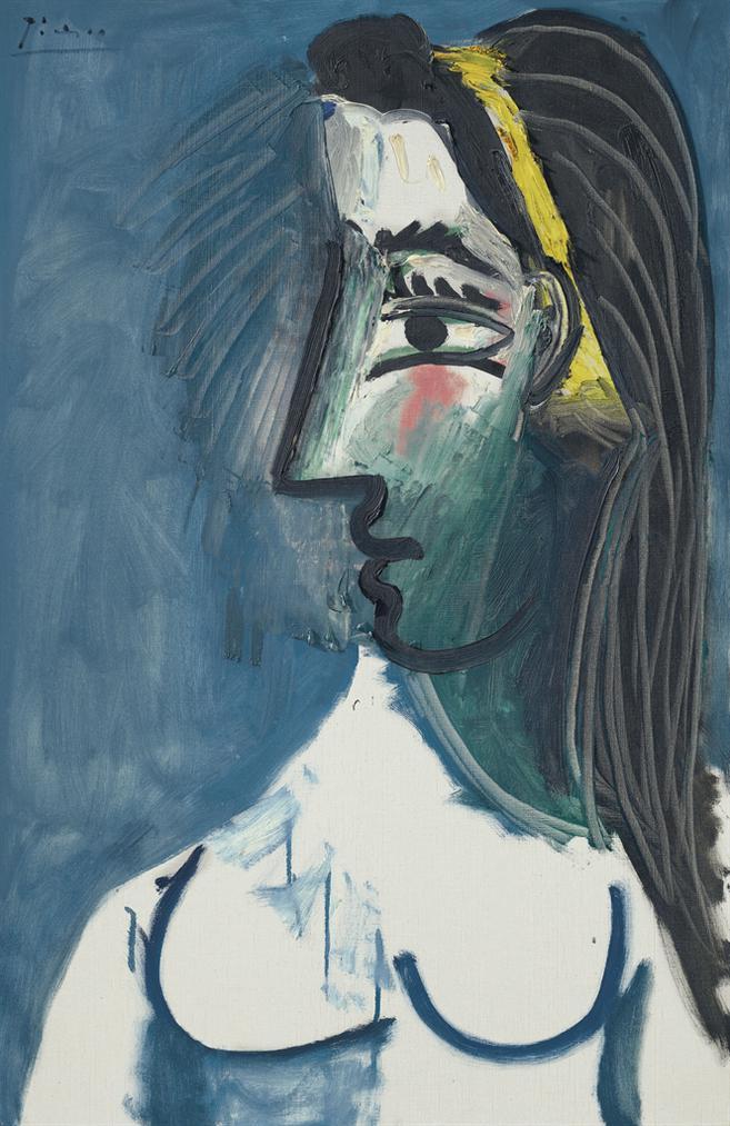 Pablo Picasso-Buste De Femme Nue (Tete De Profil)-1963