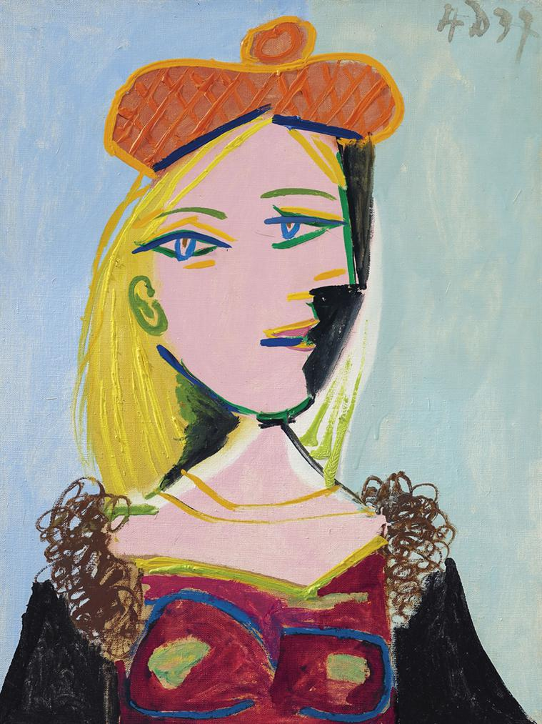 Pablo Picasso-Femme Au Beret Orange Et Au Col De Fourrure (Marie-Therese)-1937