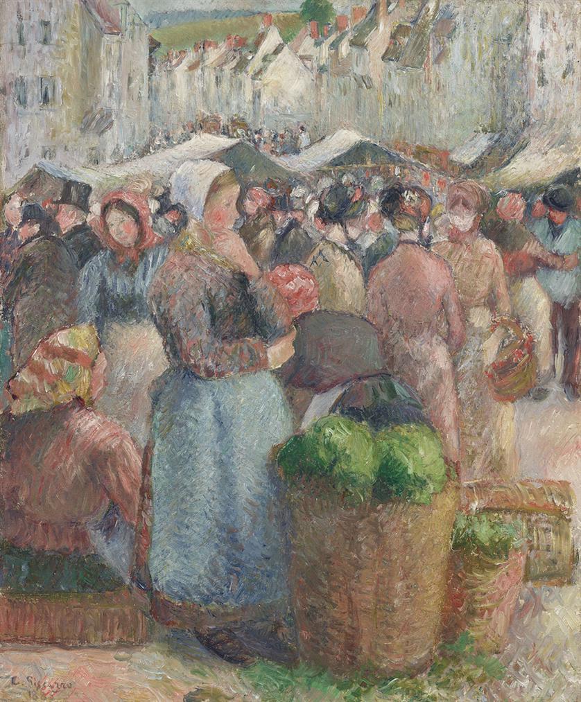 Camille Pissarro-Le Marche De Gisors, Grande-Rue-1885