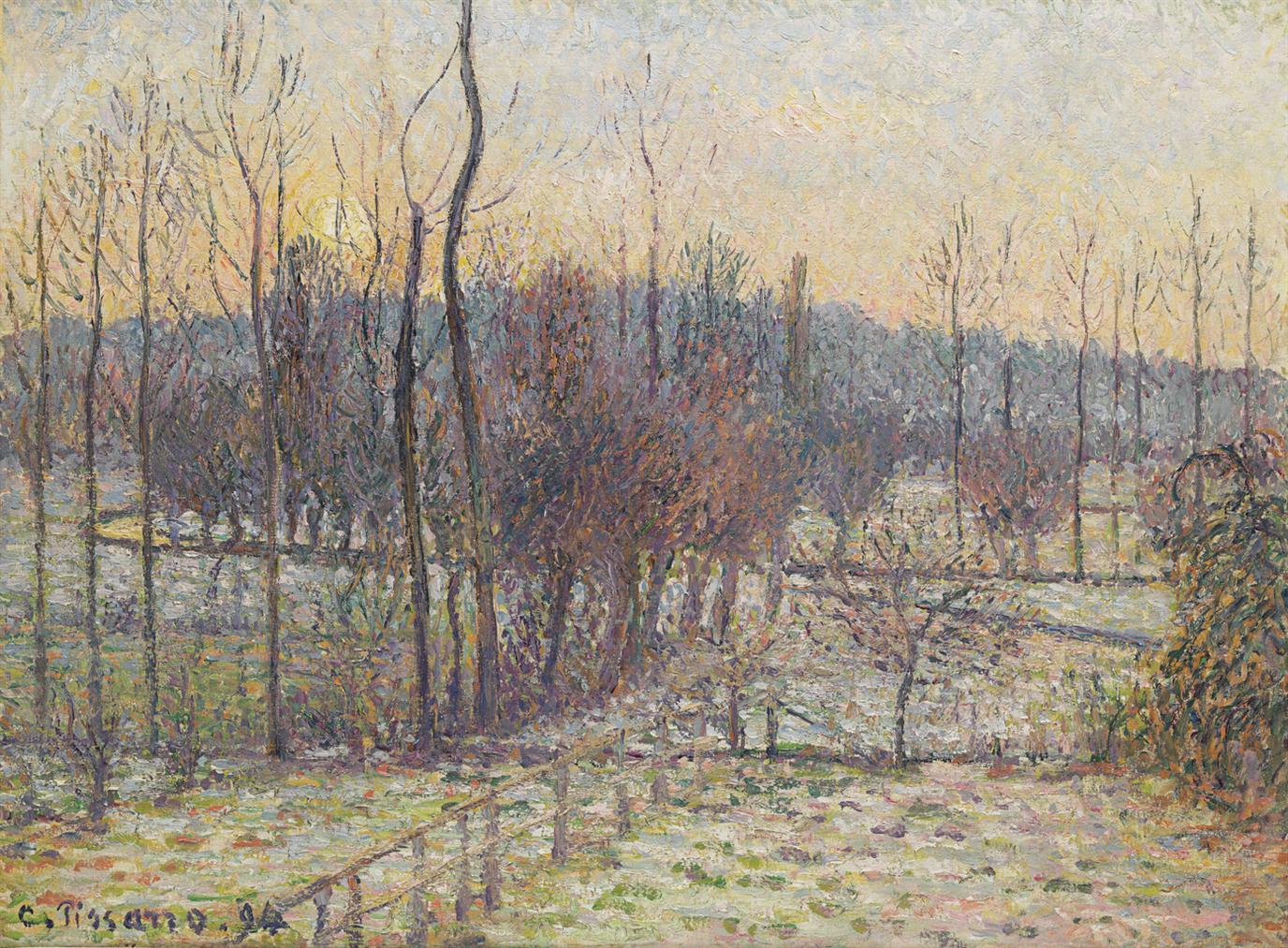 Camille Pissarro-Neige, Soleil Couchant, Eragny-1894