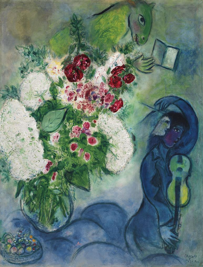 Marc Chagall-Bouquet Blanc Aux Nuages Ou Lane Lisant Ou Le Livre Et Lane Ou Musicien Aux Fleurs Et Aux Fruits-1949