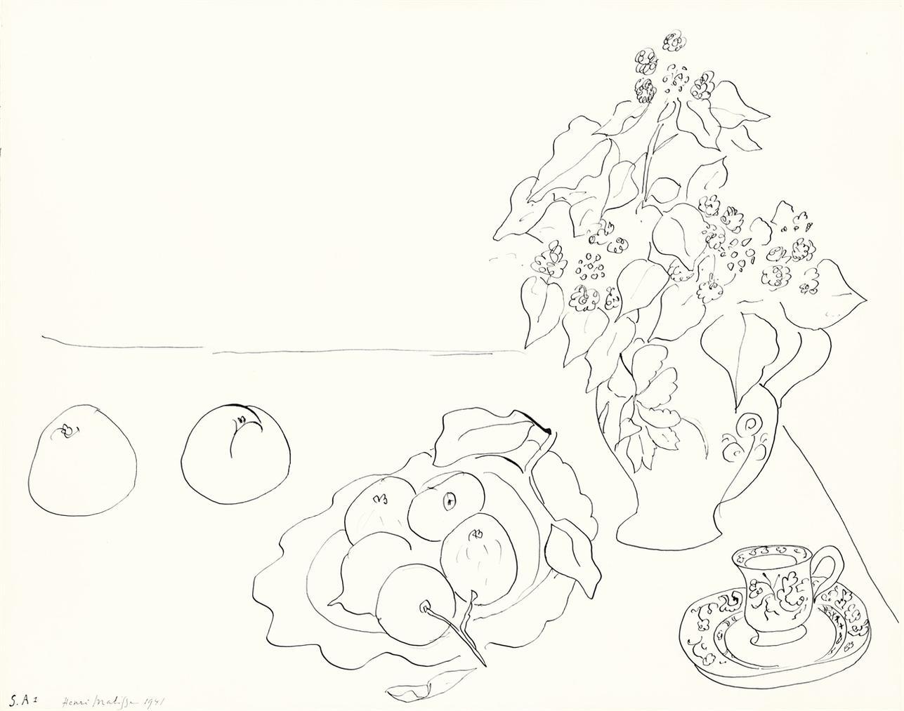 Henri Matisse-Fleurs, Fruits Et Tasse-1941