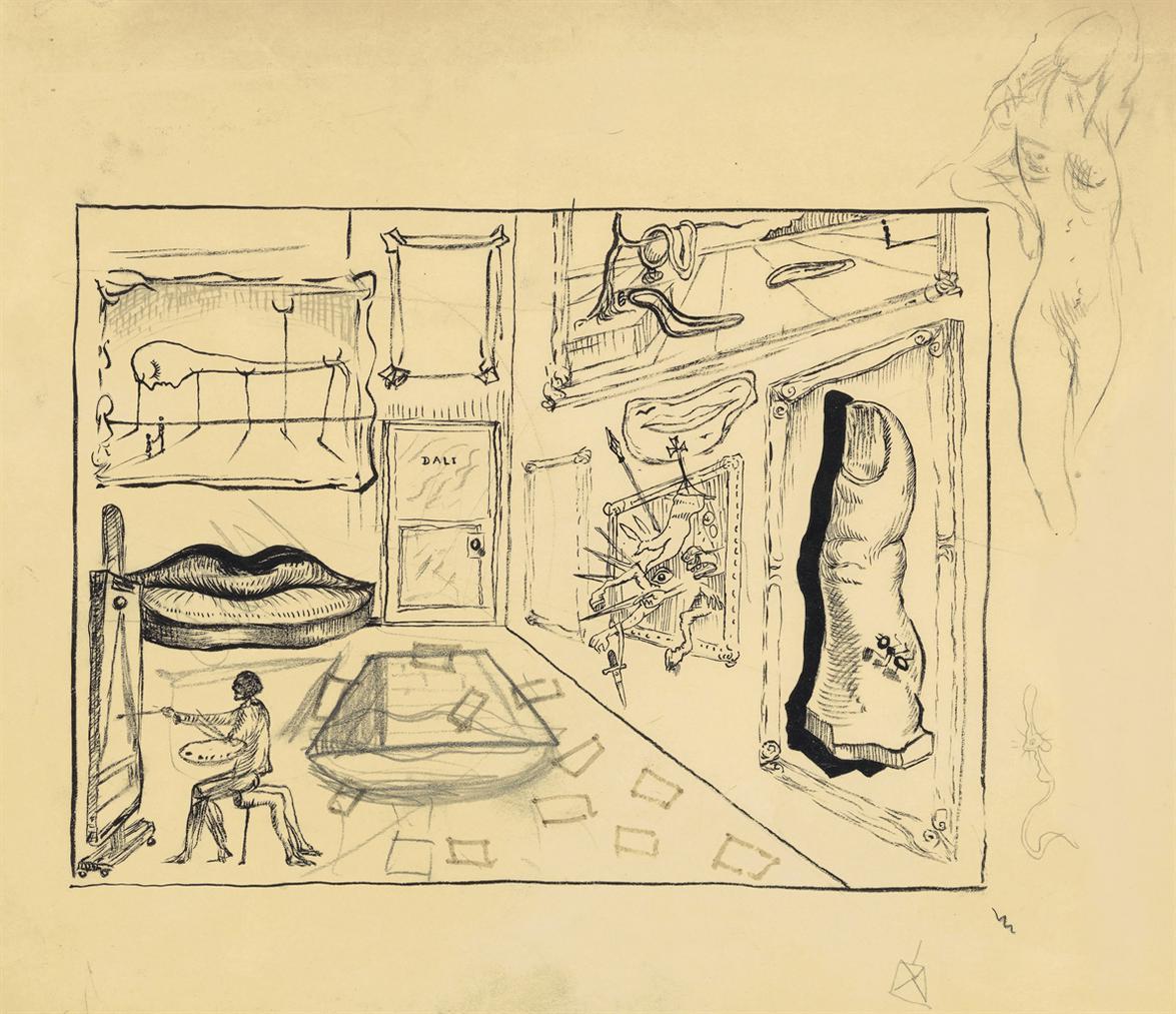 Salvador Dali-Atelier De Lartiste (Etude Pour Destino De Walt Disney)-1947