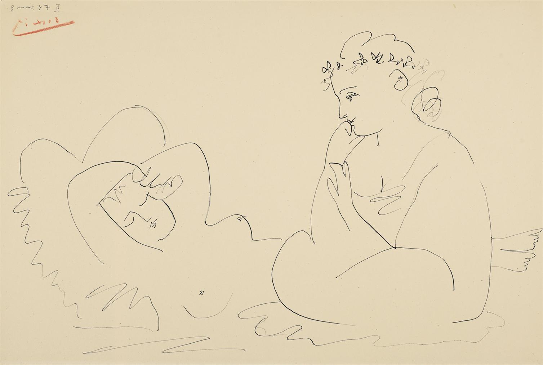 Pablo Picasso-Femme Endormie Et Femme Accroupie-1947