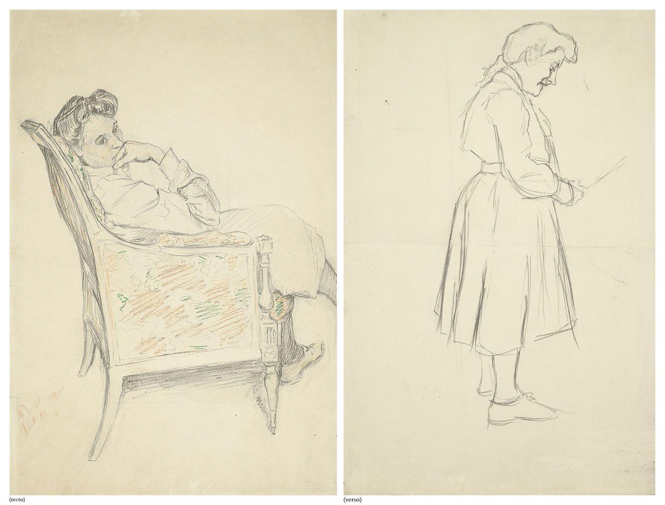 Marcel Duchamp-Suzanne Duchamp Assise (Recto); Suzanne Duchamp Debout (Verso)-1903