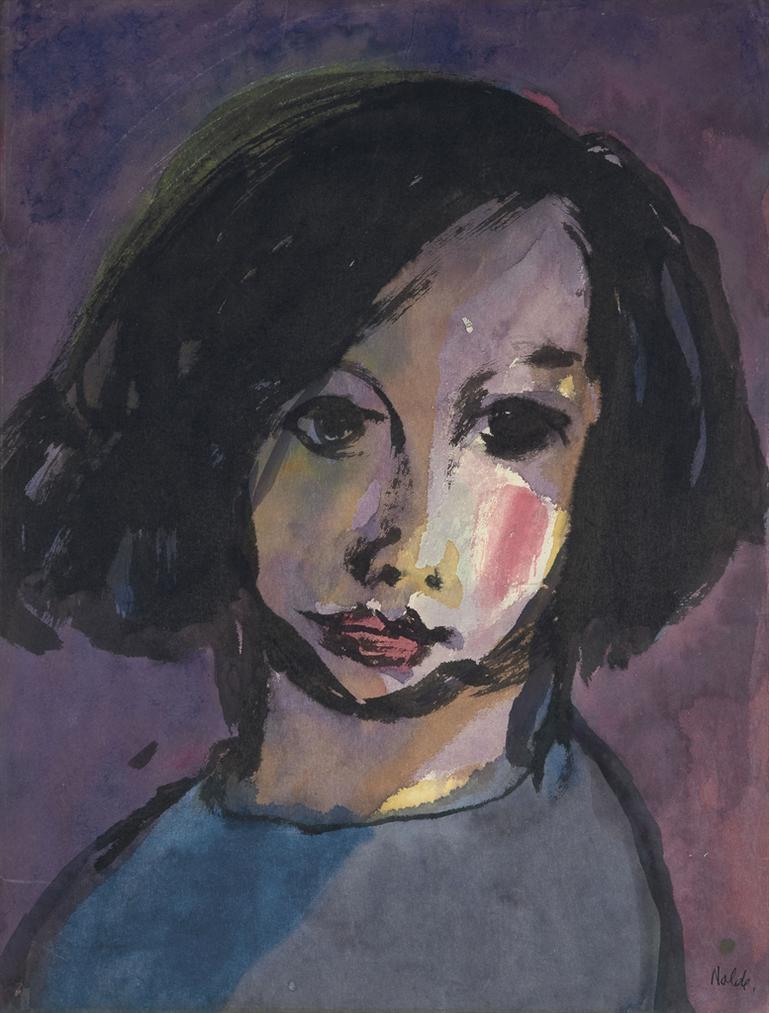 Emil Nolde-Portrat Eines Madchens (Schwarzes Haar)-1920
