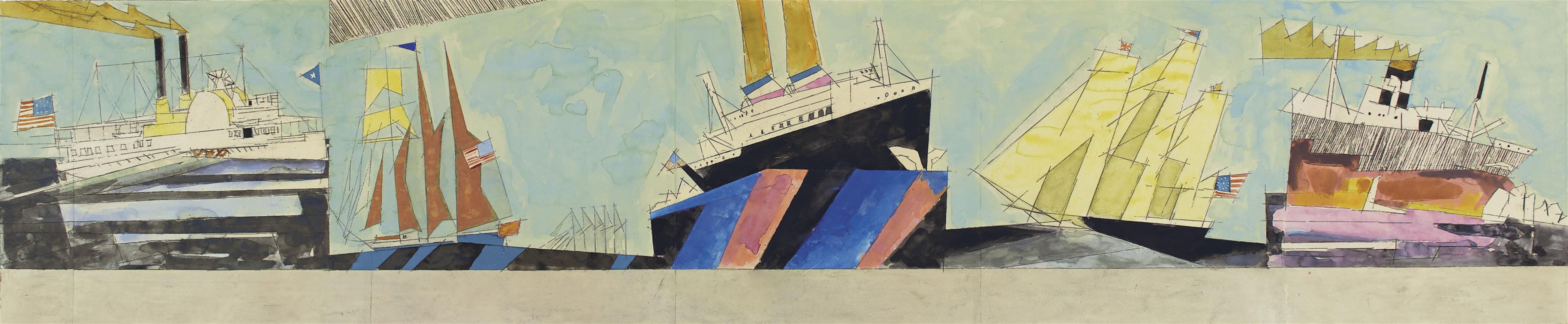 Lyonel Feininger-American Navigation (Design For Mural, Marine Transportation Building, New York Worlds Fair, 1939-1940)-1938