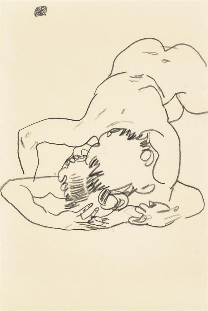 Egon Schiele-Zwei Ineinander Verschlungene Figuren-1917
