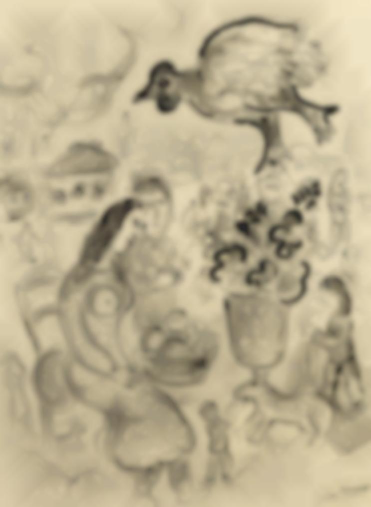 Marc Chagall-Fete Au Village Ou Couple Amoureux Et Coq Volant-1980