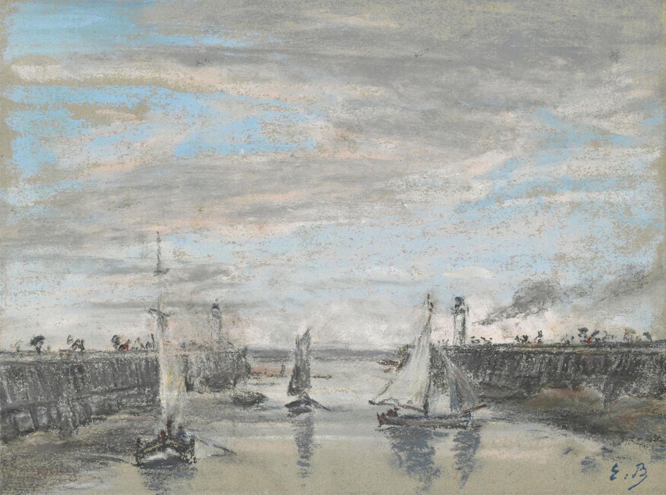 Eugene Louis Boudin-Les Jetees A Trouville-1865