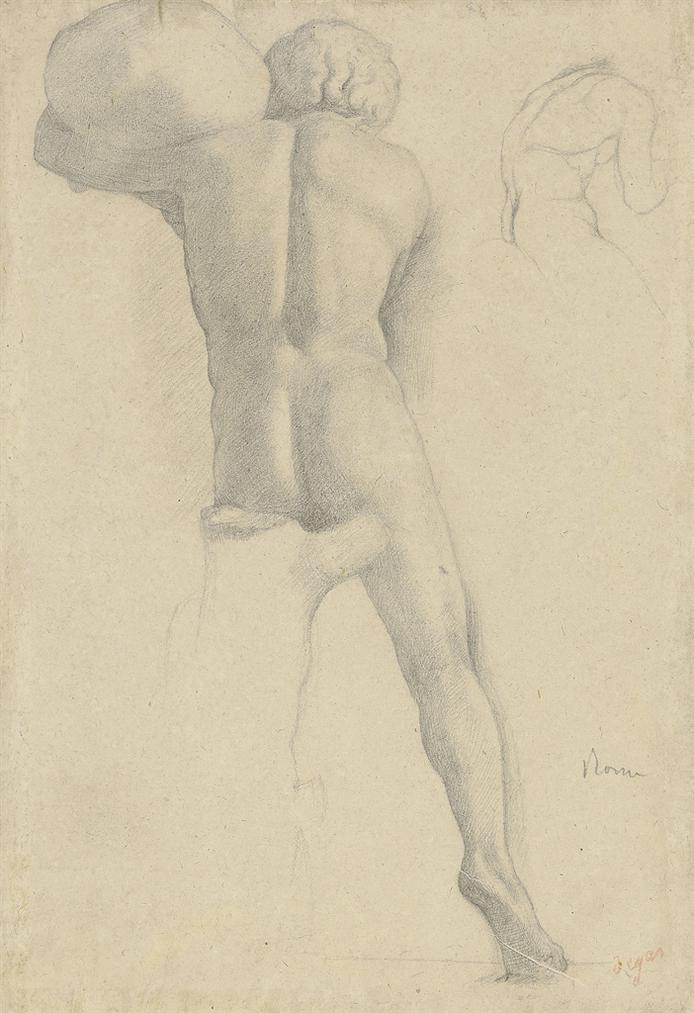 Edgar Degas-Etude Dhomme Nu, Vu De Dos-1858