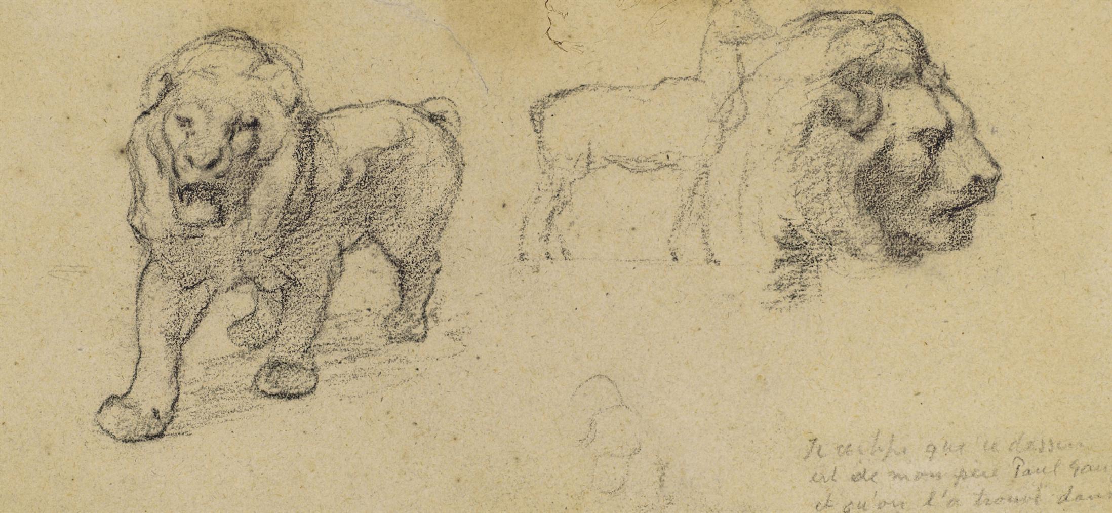 Paul Gauguin-Etudes De Lions, Gazelle Et Tete De Profil-