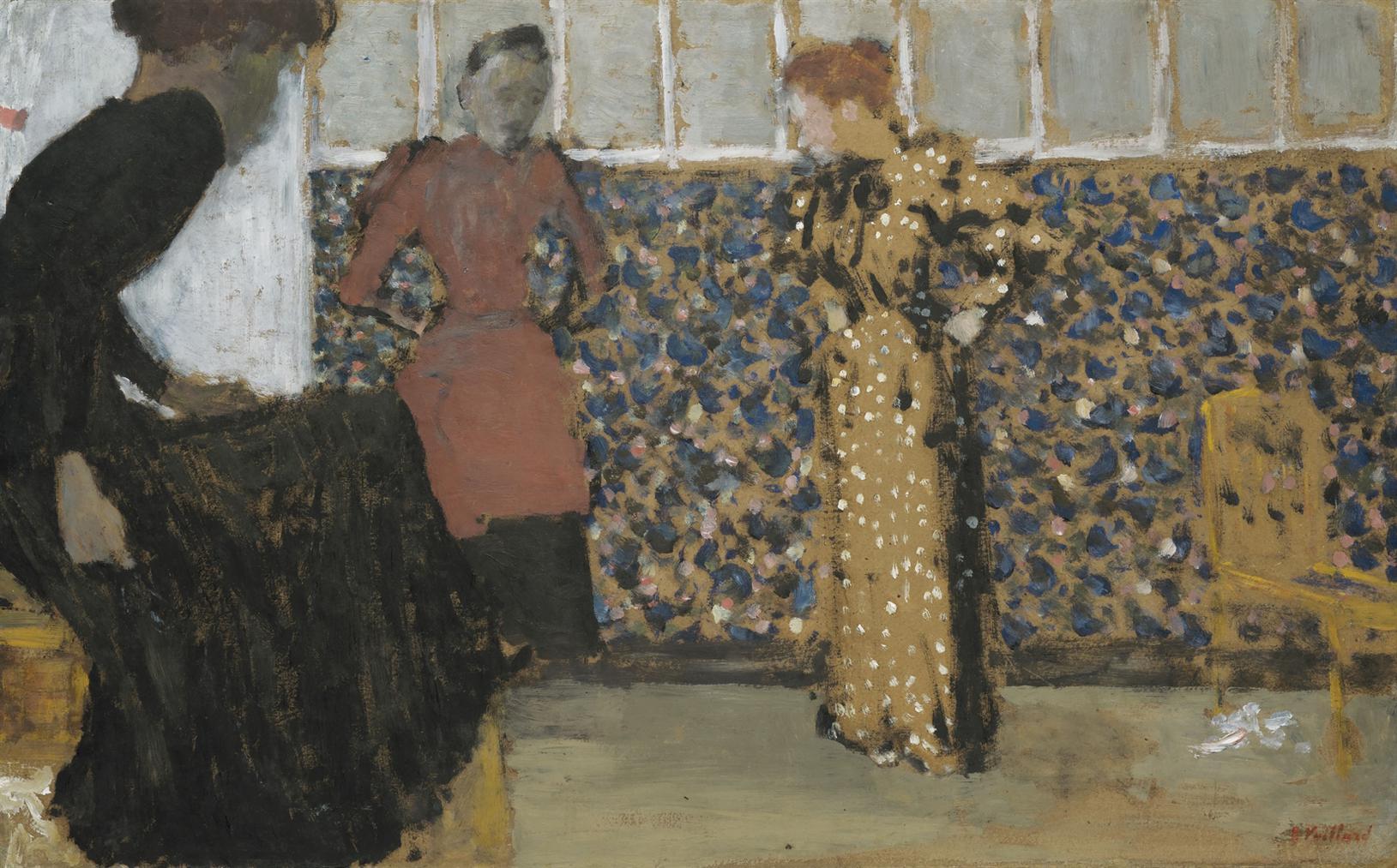 Edouard Vuillard-Interieur, Trois Femmes En Conversation-1893