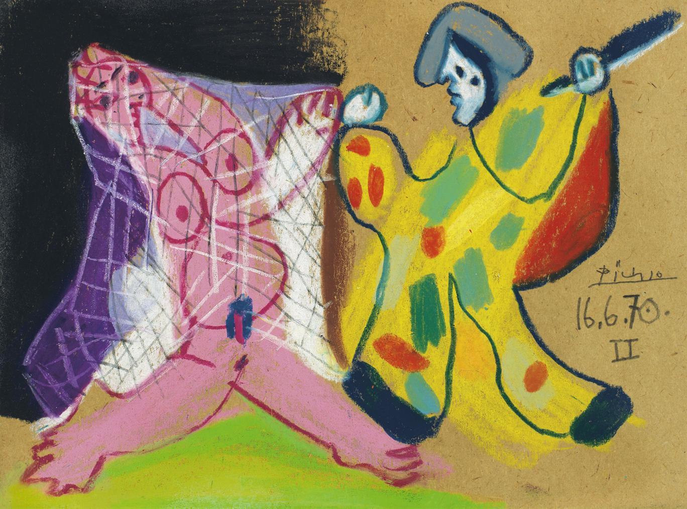 Pablo Picasso-Nu Au Filet Et Arlequin-1970