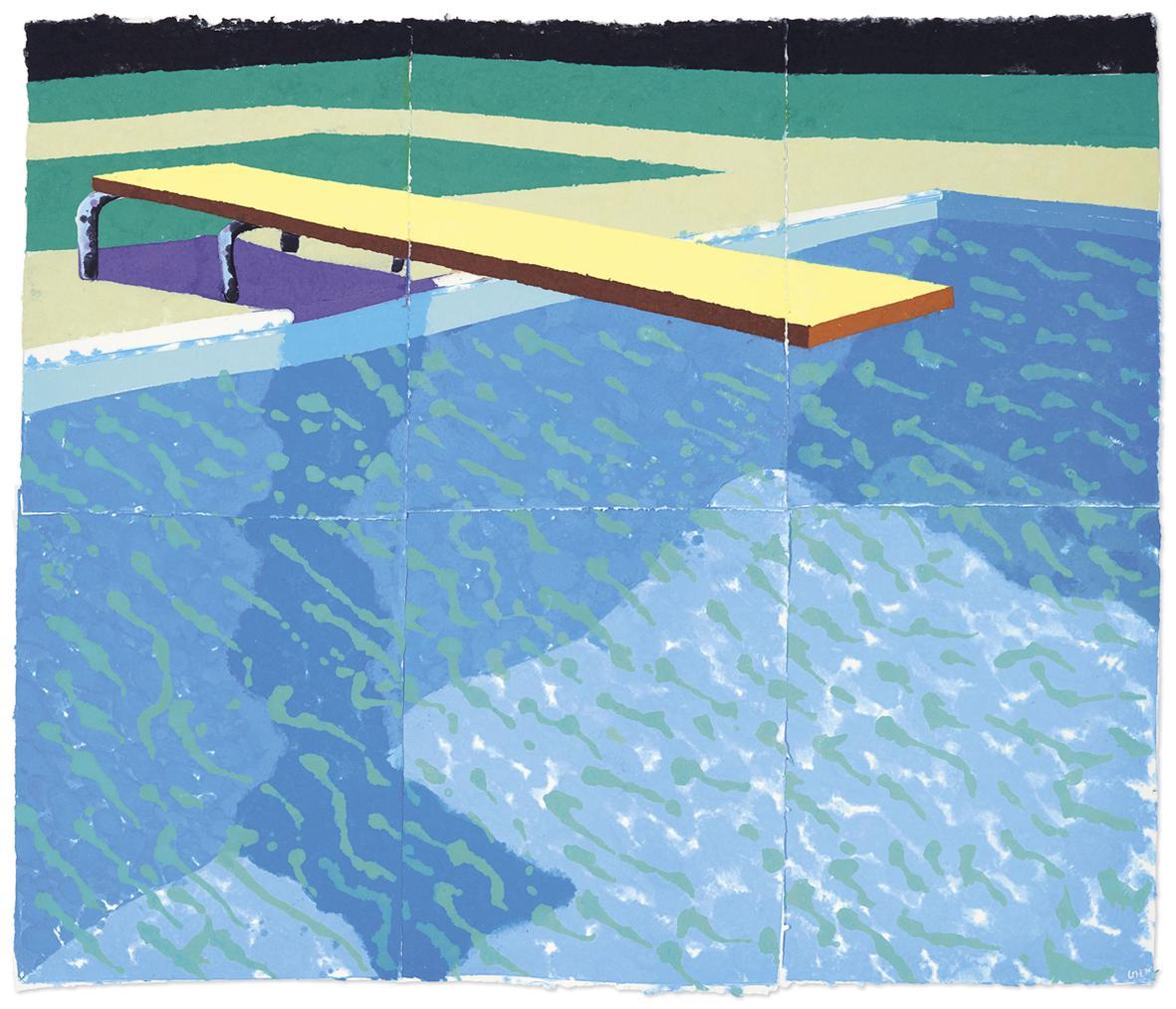 David Hockney-Sprungbrett Mit Schatten (Paper Pool 14)-1978