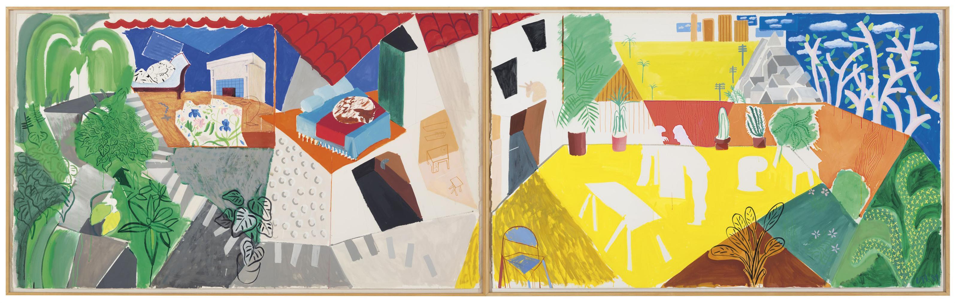David Hockney-A Visit With Mo And Lisa, Echo Park-1984