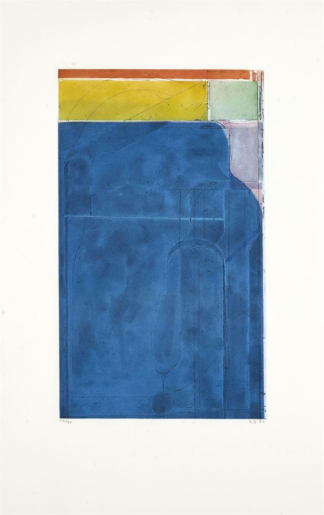 Richard Diebenkorn-Large Bright Blue, From Eight Color Etchings-1980