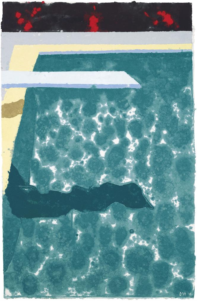 David Hockney-Green Pool With Diving Board And Shadow (Paper Pool 3)-1978